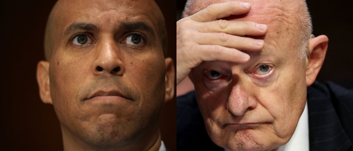Packages were reportedly found addressed to Cory Booker and James Clapper on Oct. 26, 2018. Alex Wong/Getty Images and Chip Somodevilla/Getty Images