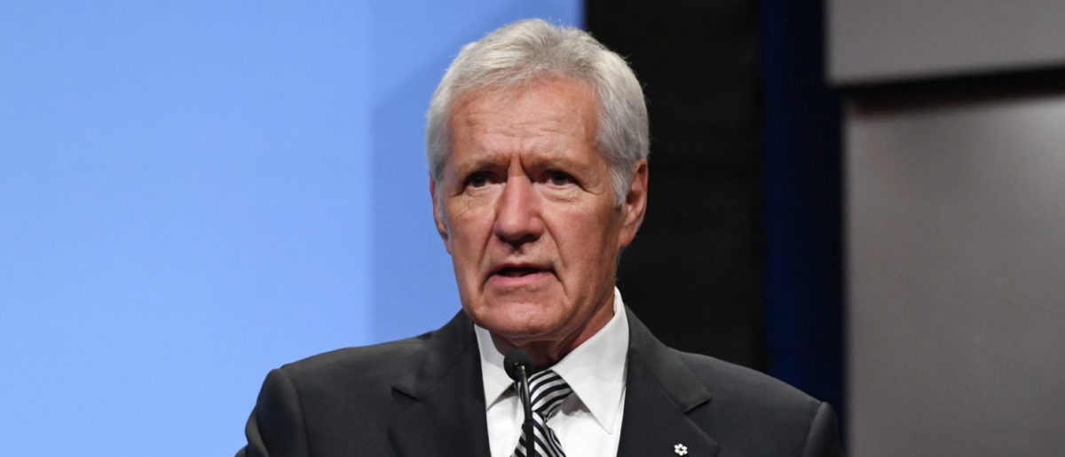 """""""Jeopardy!"""" host Alex Trebek speaks as he is inducted into the National Association of Broadcasters Broadcasting Hall of Fame during the NAB Achievement in Broadcasting Dinner at the Encore Las Vegas on April 9, 2018 in Las Vegas, Nevada. NAB Show, the trade show of the National Association of Broadcasters and the world's largest electronic media show, runs through April 12 and features more than 1,700 exhibitors and 102,000 attendees. (Photo by Ethan Miller/Getty Images)"""
