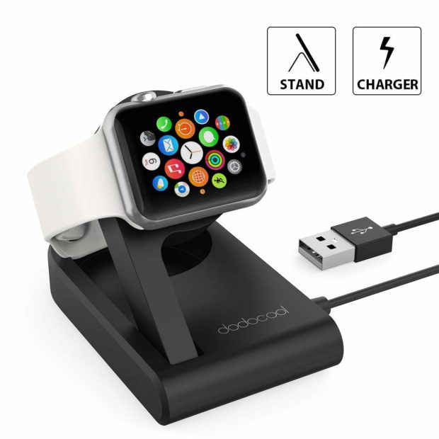 Charge your Apple Watch at an inclined angle, your watch will automatically switch to Nightstand mode, working as an alarm clock (Photo via Amazon)