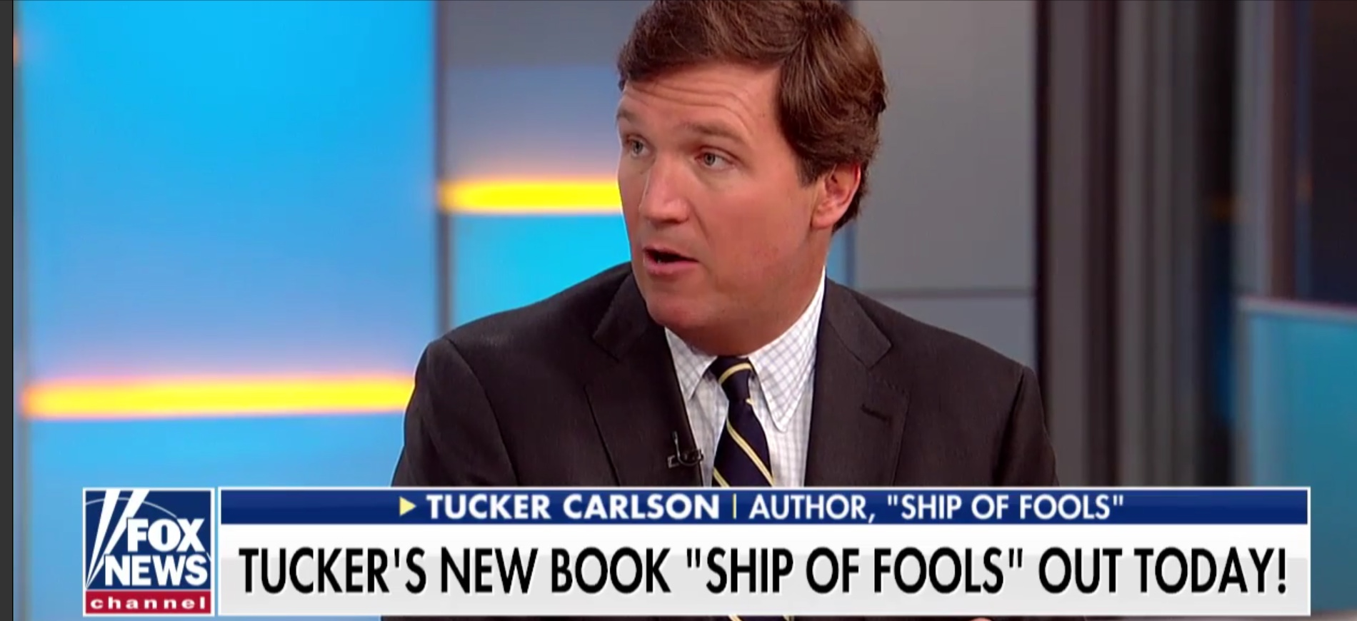 "Tucker Carlson discusses his new book ""Ship of Fools"" on Fox & Friends, Oct. 2, 2018. Fox News screenshot."