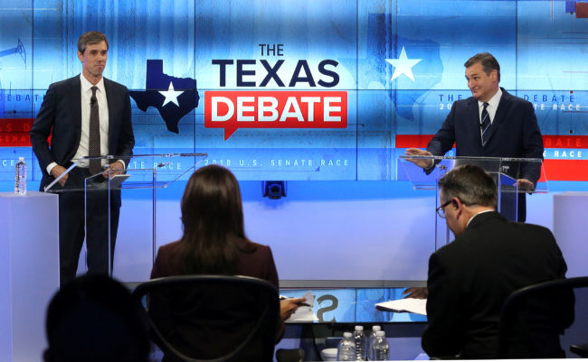 U.S. Rep. Beto O'Rourke, faces U.S. Senator Ted Cruz, in debate at the KENS 5 TV studios in San Antonio, Texas, October 16, 2018. Tom Reel/San Antonio Express-News/Pool via REUTERS