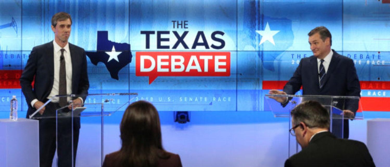 U.S. Rep. Beto O'Rourke, faces U.S. Senator Ted Cruz, in debate at the KENS 5 TV studios in San Antonio, Texas, October 16, 2018. Tom Reel/San Antonio Express-News/Pool via REUTERS