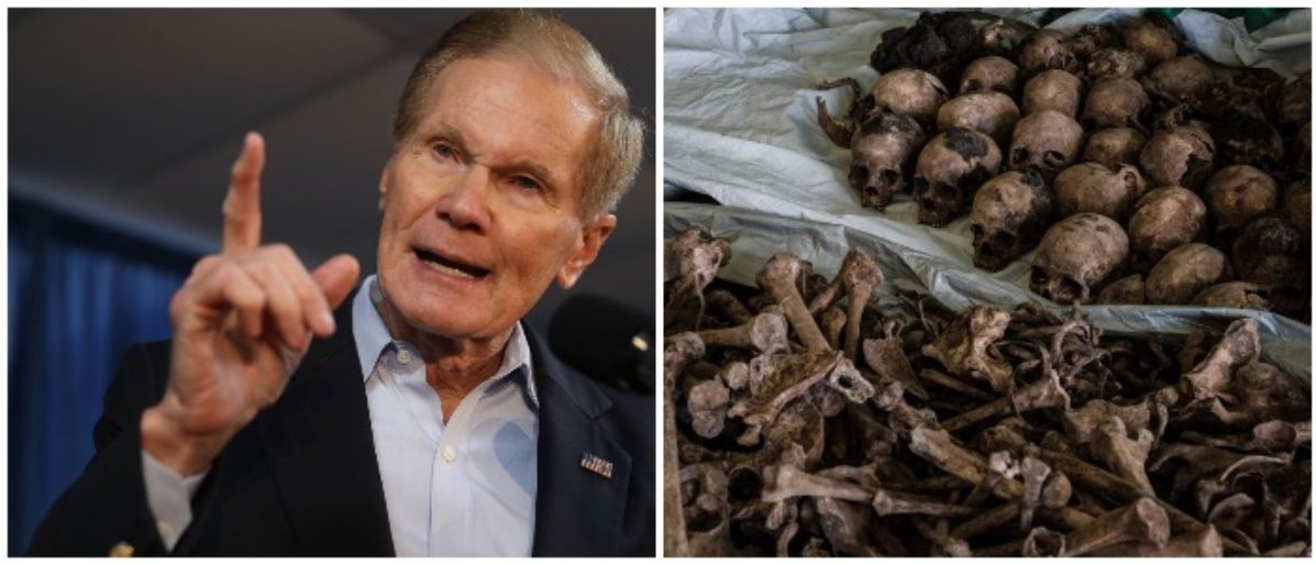 Bill Nelson and a photo of skeletons from the Rwandan genocide (LEFT: Joe Raedle/Getty Images RIGHT: YASUYOSHI CHIBA/AFP/Getty Images)