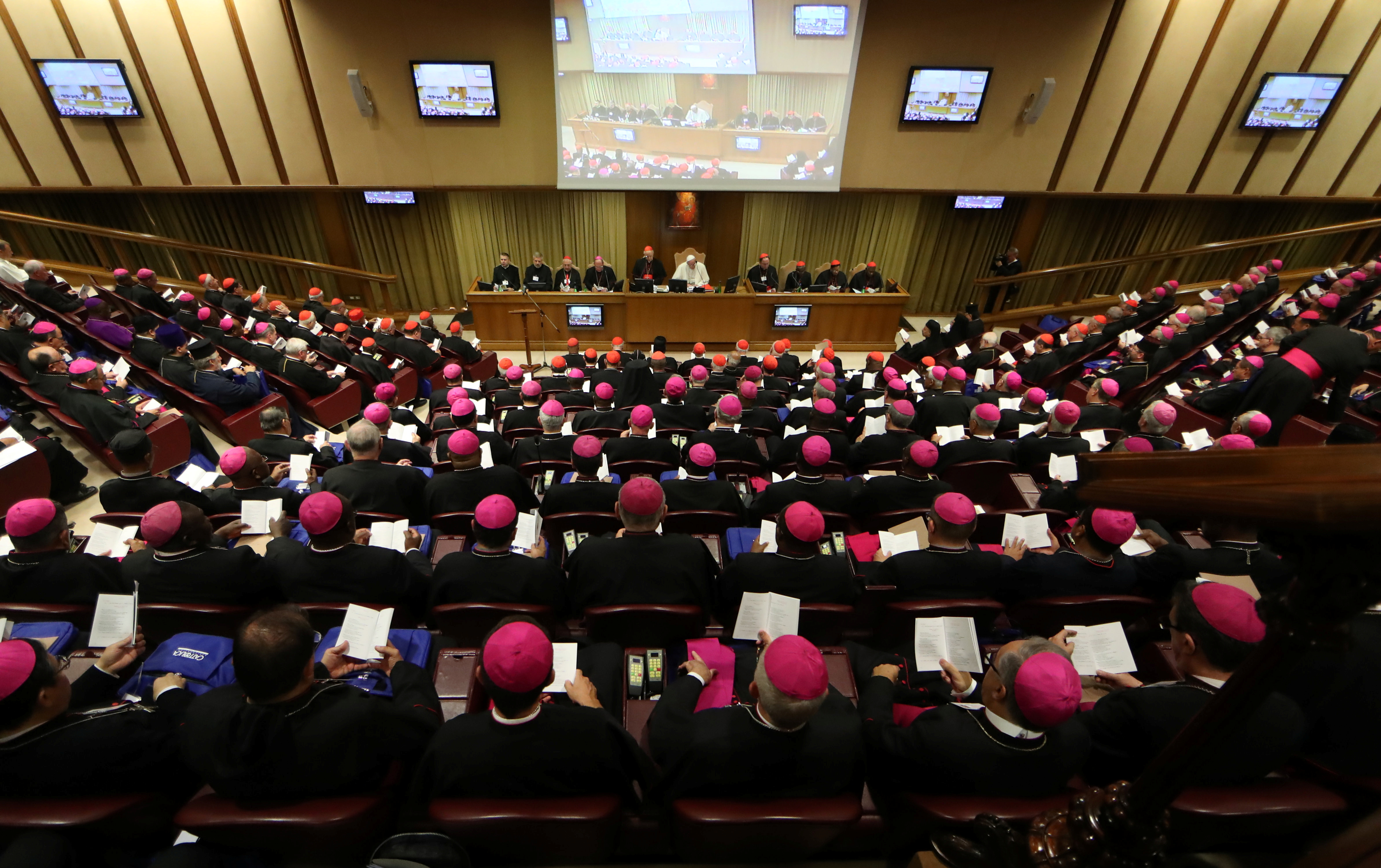 A general view shows a synodal meeting at the Vatican, October 3, 2018. REUTERS/Tony Gentile