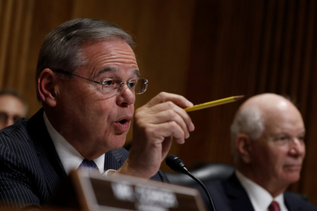 Sen. Bob Menendez (D-NJ) asks a question as Secretary of State Mike Pompeo testifies before the Senate Foreign Relations Committee on Capitol Hill in Washington, July 25, 2018. REUTERS/Aaron P. Bernstein