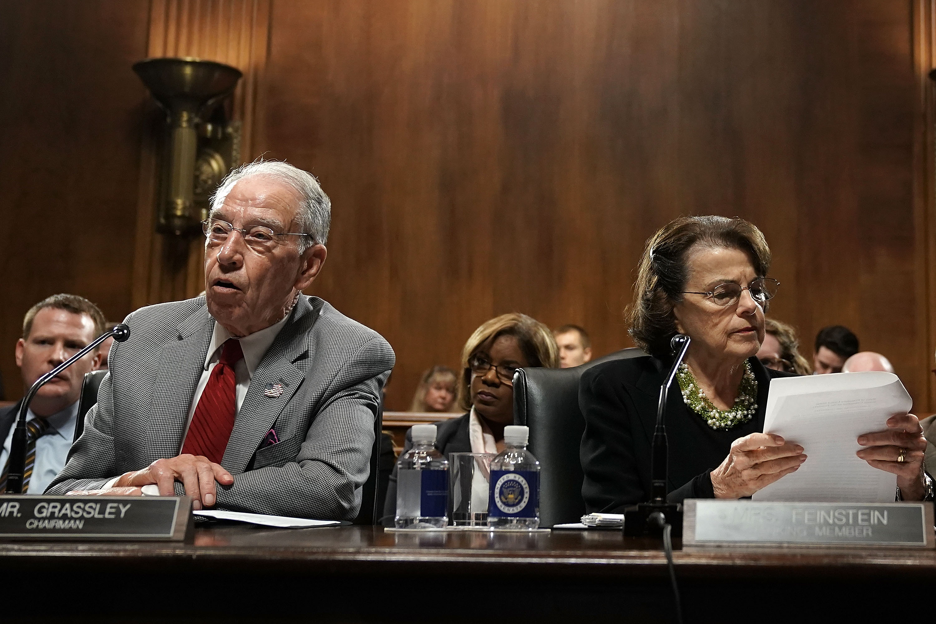 Committee Chairman U.S. Sen. Chuck Grassley (R-IA) (L) speaks as ranking member Sen. Dianne Feinstein (D-CA) (R) listens during a markup hearing before the Senate Judiciary Committee September 13, 2018 on Capitol Hill in Washington, DC. A request during the hearing by the Democrats to subpoena documents on Supreme Court nominee Brett KavanaughÕs job as staff secretary in the George W. Bush administration was rejected by the Republicans. Chairman Grassley announced that the committee will hold its final vote on the nomination on September 20, 2018. (Alex Wong/Getty Images)