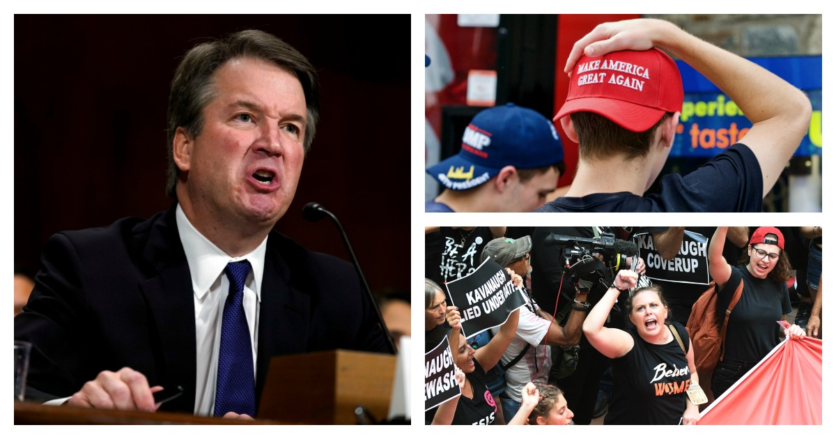 Campuses around the country clashed with Supreme Court nominee Brett Kavanaugh.Left, Pool via REUTERS/Andrew Harnik/Top Right, SHUTTERSTOCK/ John M.Chase / Bottom Right, REUTERS/ Mary Calvert
