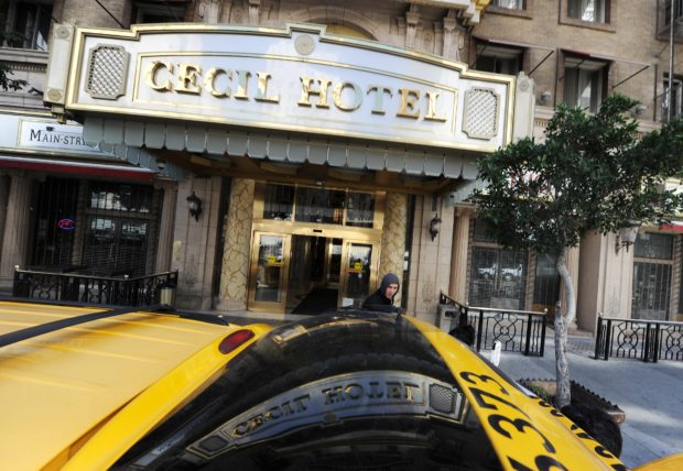 A taxi awaits a fare outside the Cecil Hotel in Los Angeles California February 20, 2013. The body of 21-year-old Canadian tourist Elisa Lam was found in a water tank on the roof of the hotel three weeks after she went missing, police said. The corpse was found February 19 after hotel guests complained of low water pressure. (ROBYN BECK/AFP/Getty Images)