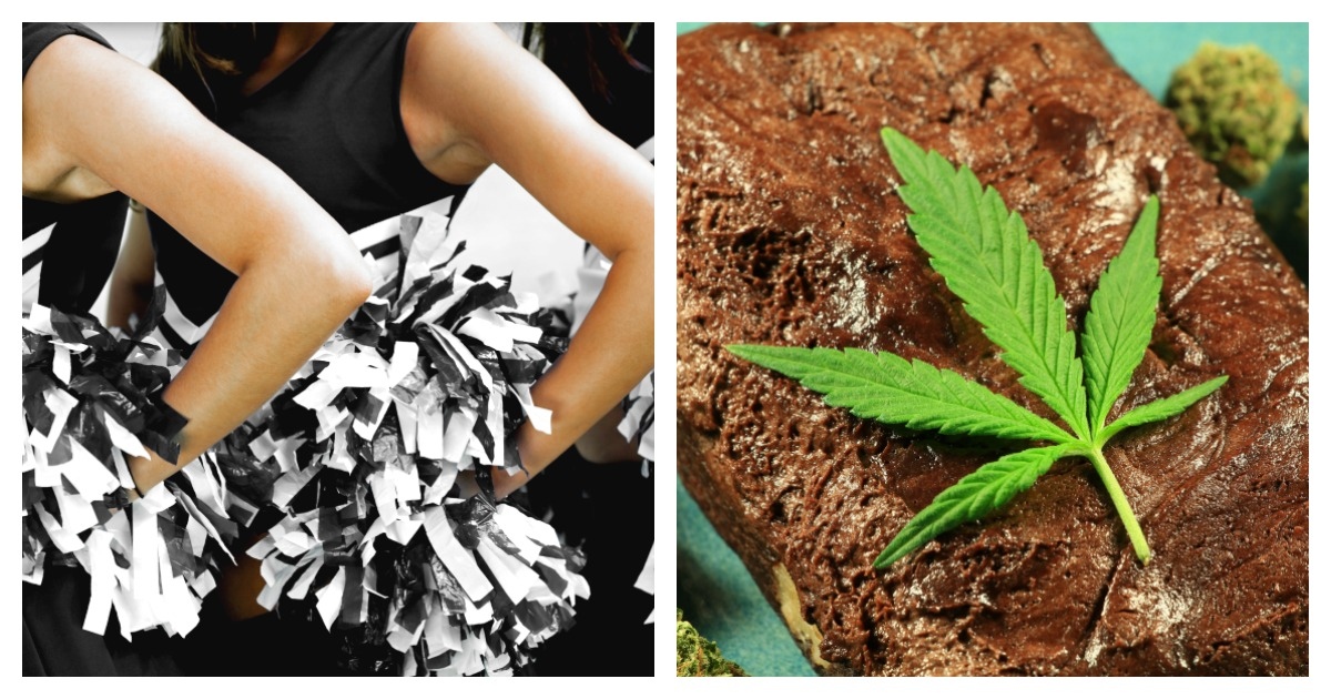 A cheerleader allegedly gave students pot brownies in order to become homecoming queen. Left, SHUTTERSTOCK/sirtravelalot / Right, SHUTTERSTOCK/Atomazul