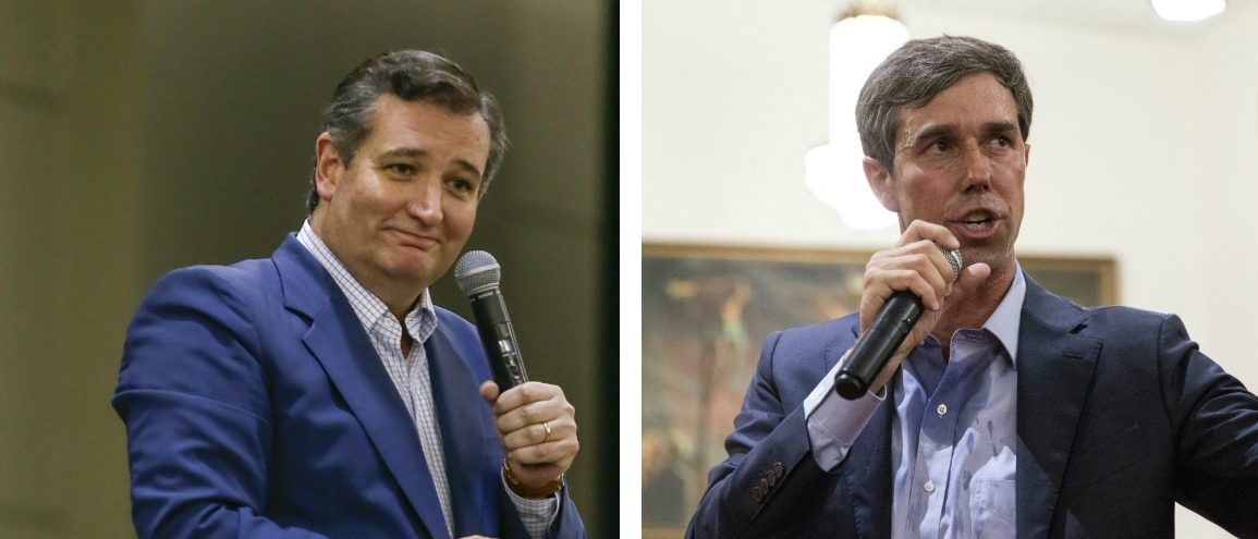 LEFT: Ted Cruz speaks at a Ted Cruz Rally at the Lone Star Convention Center on October 3, 2018 in Conroe, Texas. (Bob Levey/Getty Images for Left/Right TV) RIGHT: U.S. Representative Beto O'Rourke (D-TX) campaigns in Dallas, Texas, on September 14, 2018. - O'Rourke is the Democratic challenger for the U.S. Senate seat currently held by U.S. Senator Ted Cruz (R-TX) (LAURA BUCKMAN/AFP/Getty Images)