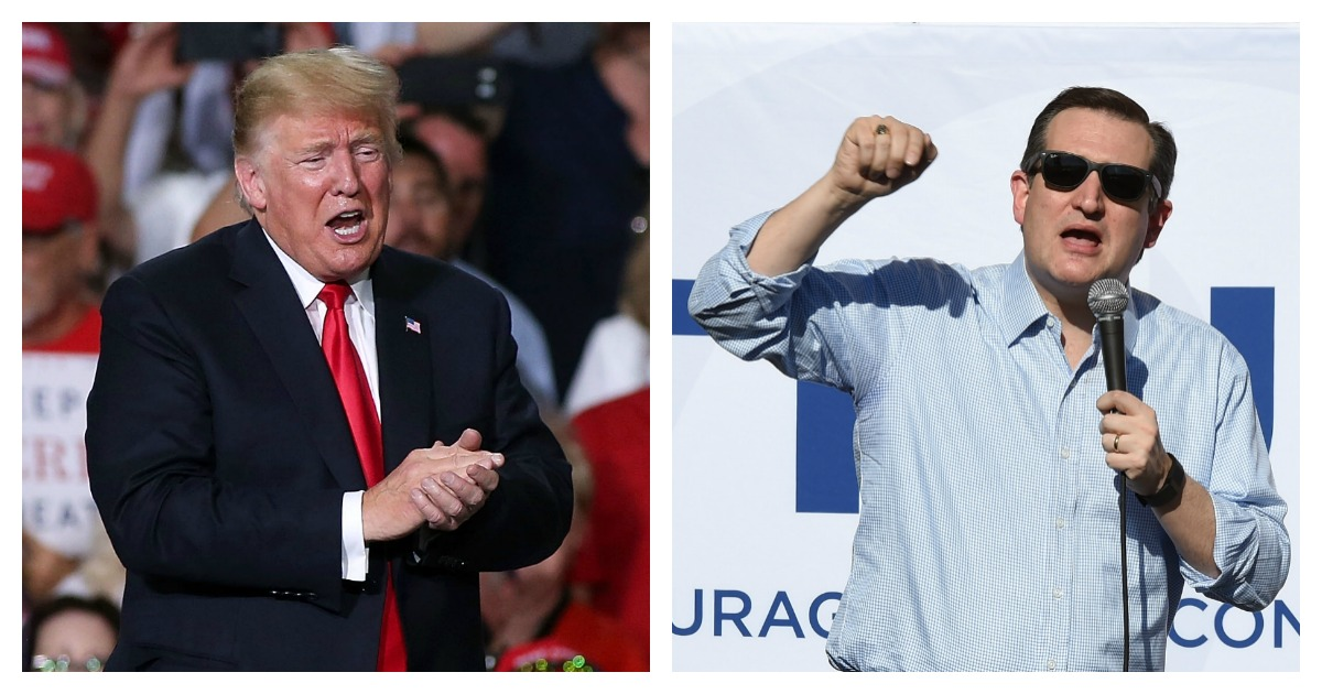 LEFT: President Donald Trump applauds the crowd of supporters during a rally at the International Air Response facility on October 19, 2018 in Mesa, Arizona. President Trump is holding rallies in Arizona, Montana and Nevada, campaigning for Republican candidates running for the U.S. Senate. (Photo by Ralph Freso/Getty Images) RIGHT: Republican presidential candidate, Sen. Ted Cruz (R-TX) speaks at a rally on February 21, 2016 in Pahrump, Nevada. Cruz is campaigning in Nevada for the Republican presidential nomination ahead of the state's February 23 Republican caucuses. (Photo by Ethan Miller/Getty Images)
