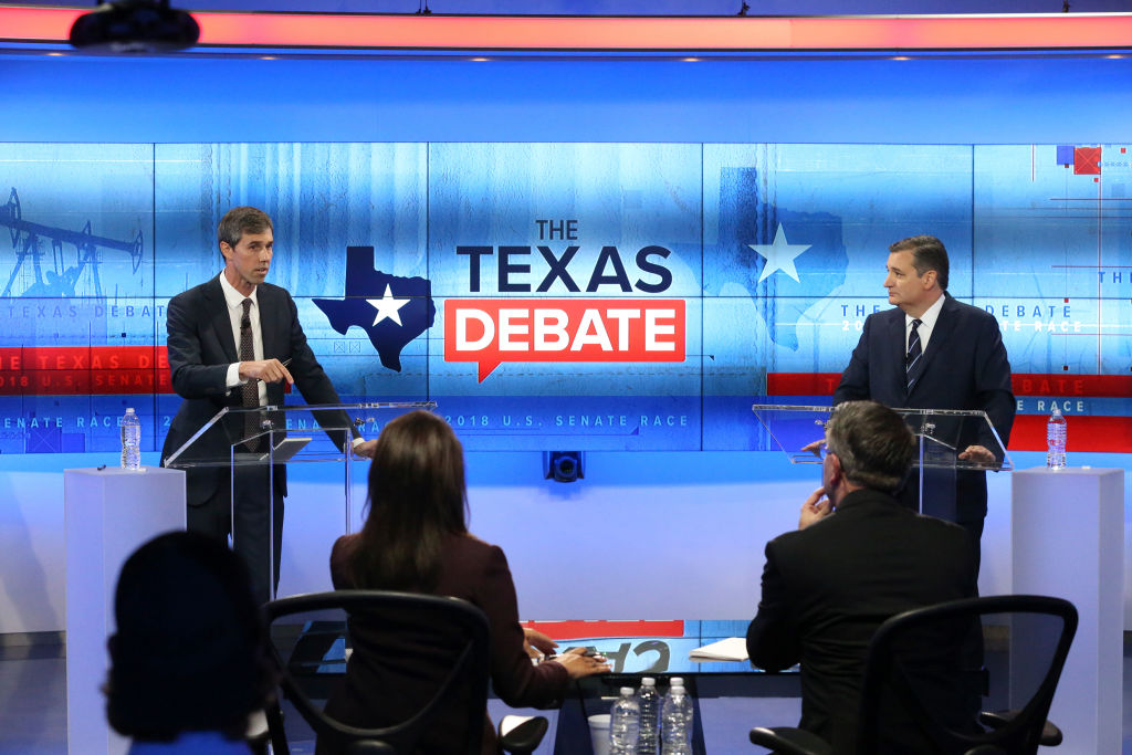 SAN ANTONIO, TX - OCTOBER 15: U.S. Rep. Beto O'Rourke (D-TX) (L) and U.S. Sen. Ted Cruz (R-TX) face off in a debate at the KENS 5 studios on October 16, 2018 in San Antonio, Texas. A recent poll show Cruz leading O'Rourke 52-45 percent among likely voters. (Photo by Tom Reel-Pool/Getty Images)