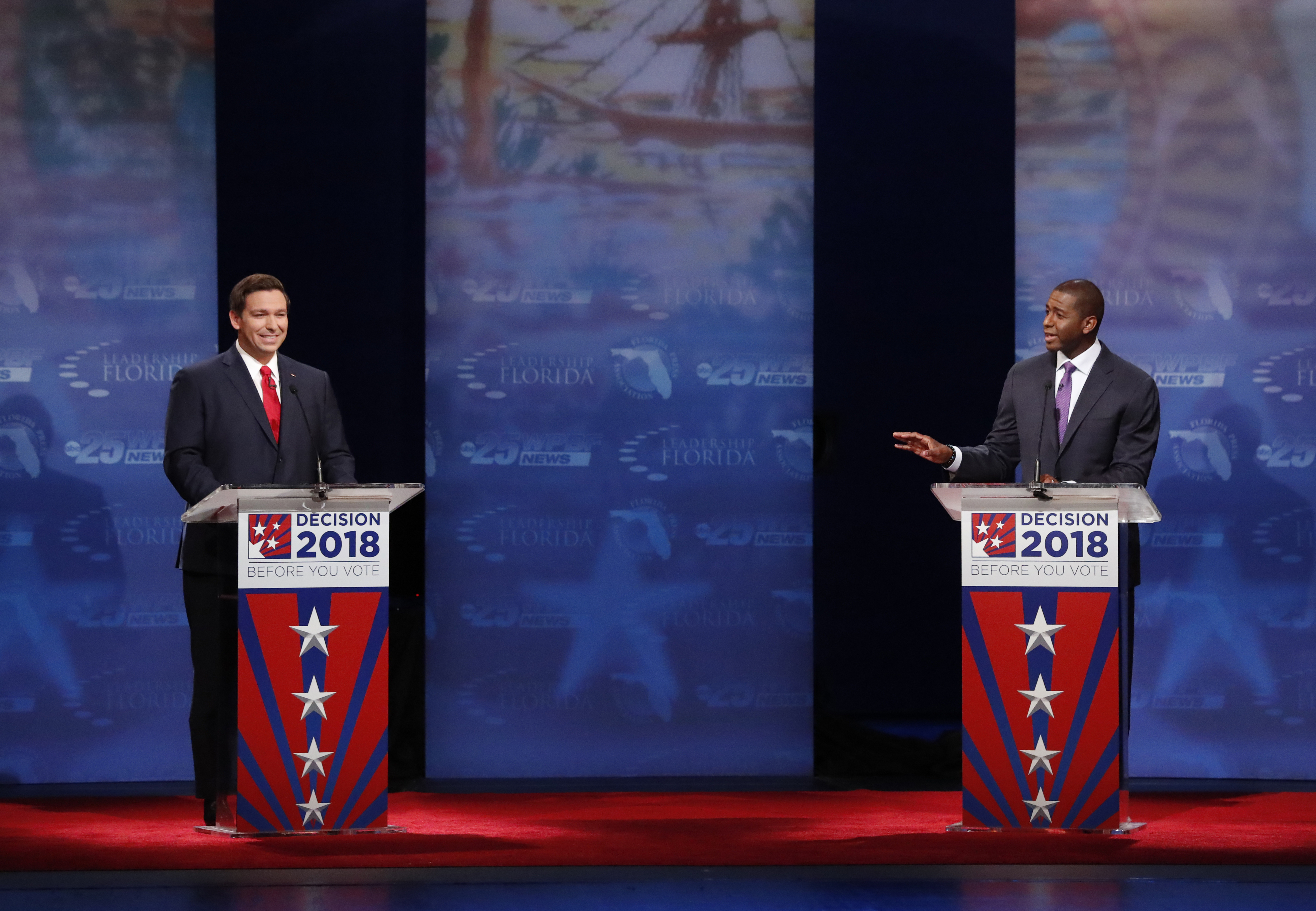 Republican Ron DeSantis (L) and Democrat Andrew Gillum debate at Broward College October 24, 2018 in Davie, Florida. The second and final debate between the two Florida gubernatorial candidates was marked by sharp personal attacks as the November 6 election approaches. (Wilfredo Lee-Pool/Getty Images)