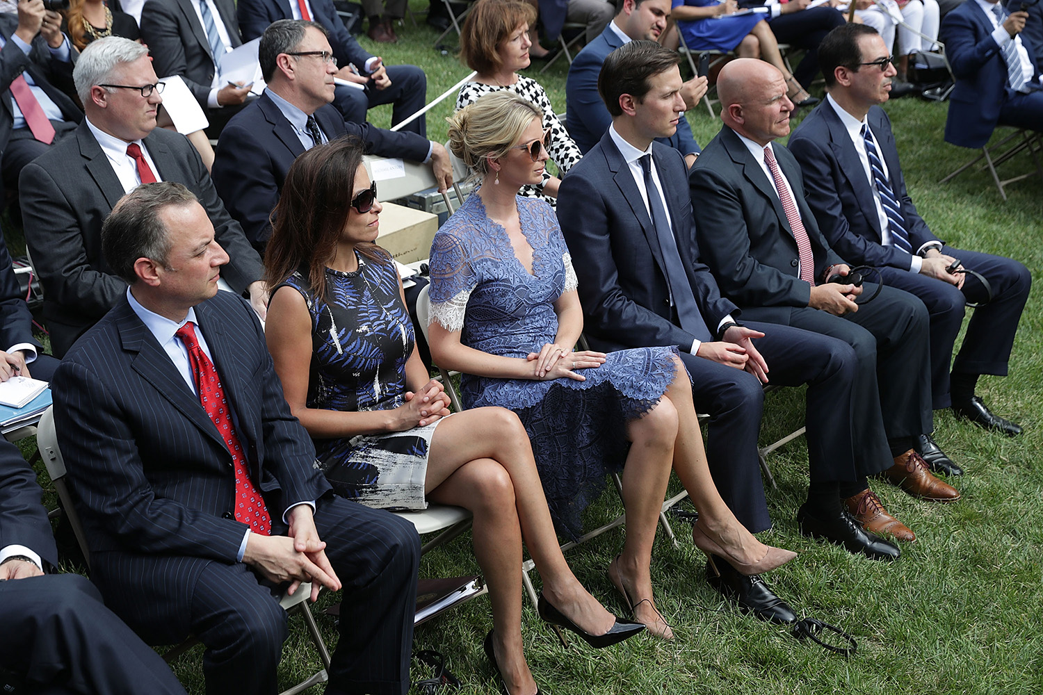 (L-R) White House Chief of Staff Reince Priebus, Deputy National Security Advisor Dina Powell, Ivanka Trump, Senior Advisor to the President Jared Kushner, National Security Advisor H.R. McMaster and Treasury Secretary Steven Mnuchin attend a news conference with U.S. President Donald Trump and Lebanese Prime Minister Saad Hariri in the Rose Garden at the White House July 25, 2017 in Washington, DC. Trump began the news conference by announcing that Senate Republicans had passed a procedural vote on repealing Obamacare. (Photo by Chip Somodevilla/Getty Images)