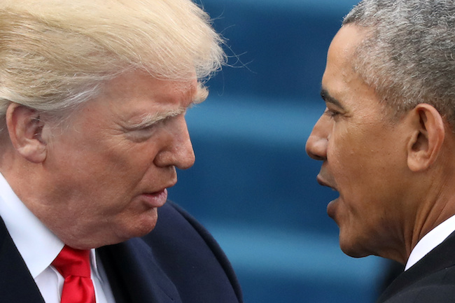 FILE -- President Barack Obama greets President-elect Donald Trump at inauguration ceremonies swearing in Trump as president on the West front of the U.S. Capitol in Washington, January 20, 2017. REUTERS/Carlos Barria