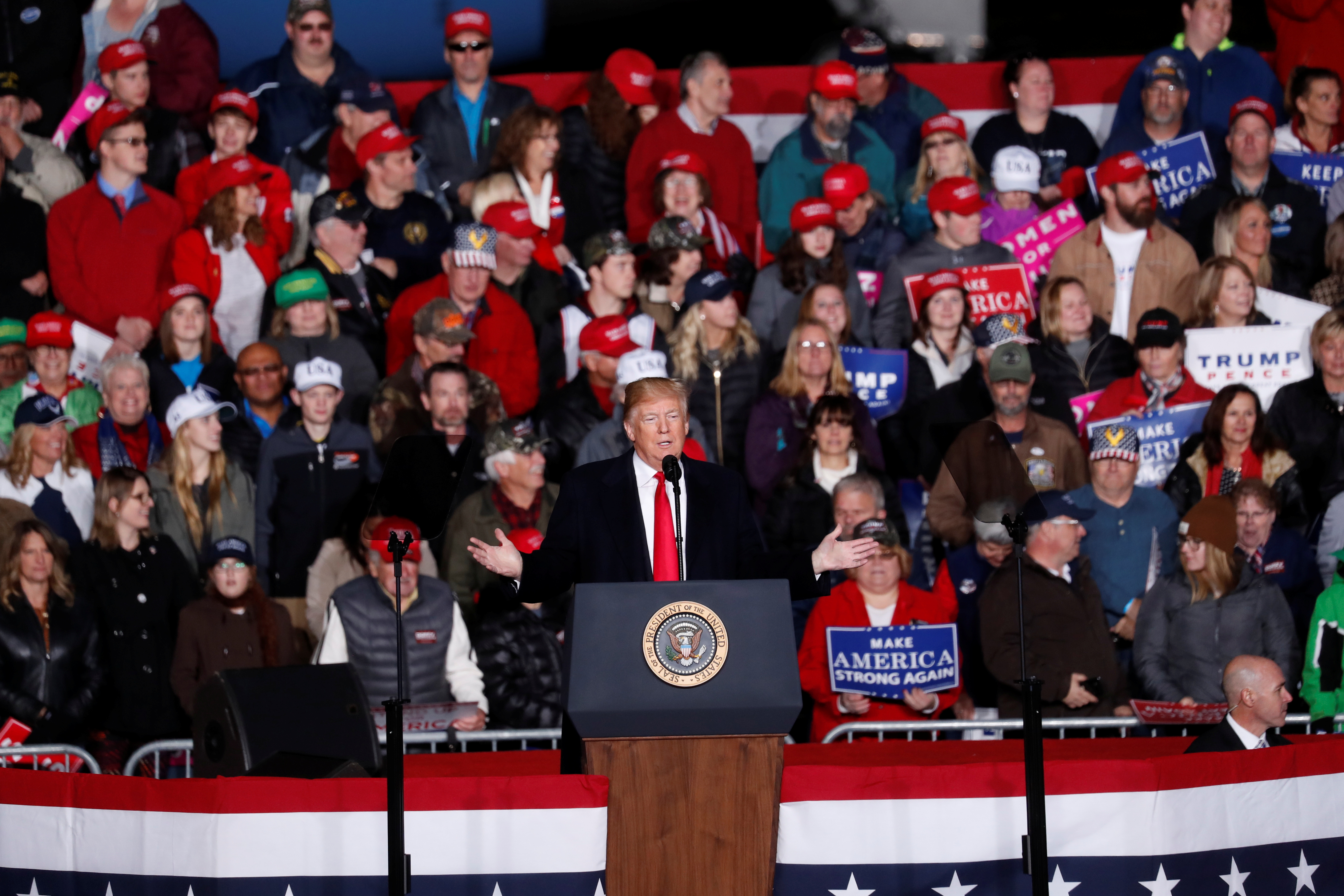 U.S. President Donald Trump during a campaign rally in Mosinee, Wisconsin
