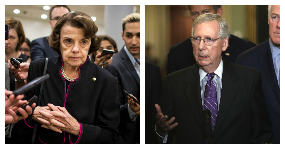 LEFT: Senate Judiciary Committee Ranking Member Sen. Dianne Feinstein (D-CA) speaks to members of the press in the Senate Basement on September 27, 2018 in Washington, DC. (Zach Gibson/Getty Images) RIGHT: Senate Majority Leader Mitch McConnell (C) (R-KY) answers questions from the press following the weekly Republican policy luncheon on September 25, 2018 in Washington, DC. (Win McNamee/Getty Images)