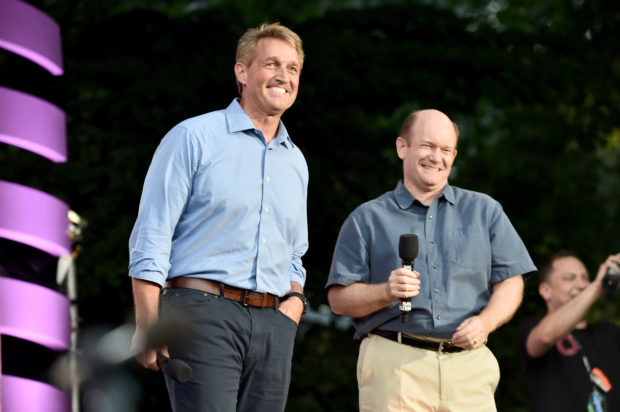 NEW YORK, NY - SEPTEMBER 29: Jeff Flake and Chris Coons speak onstage during the 2018 Global Citizen Festival: Be The Generation in Central Park on September 29, 2018 in New York City. (Theo Wargo/Getty Images for Global Citizen)