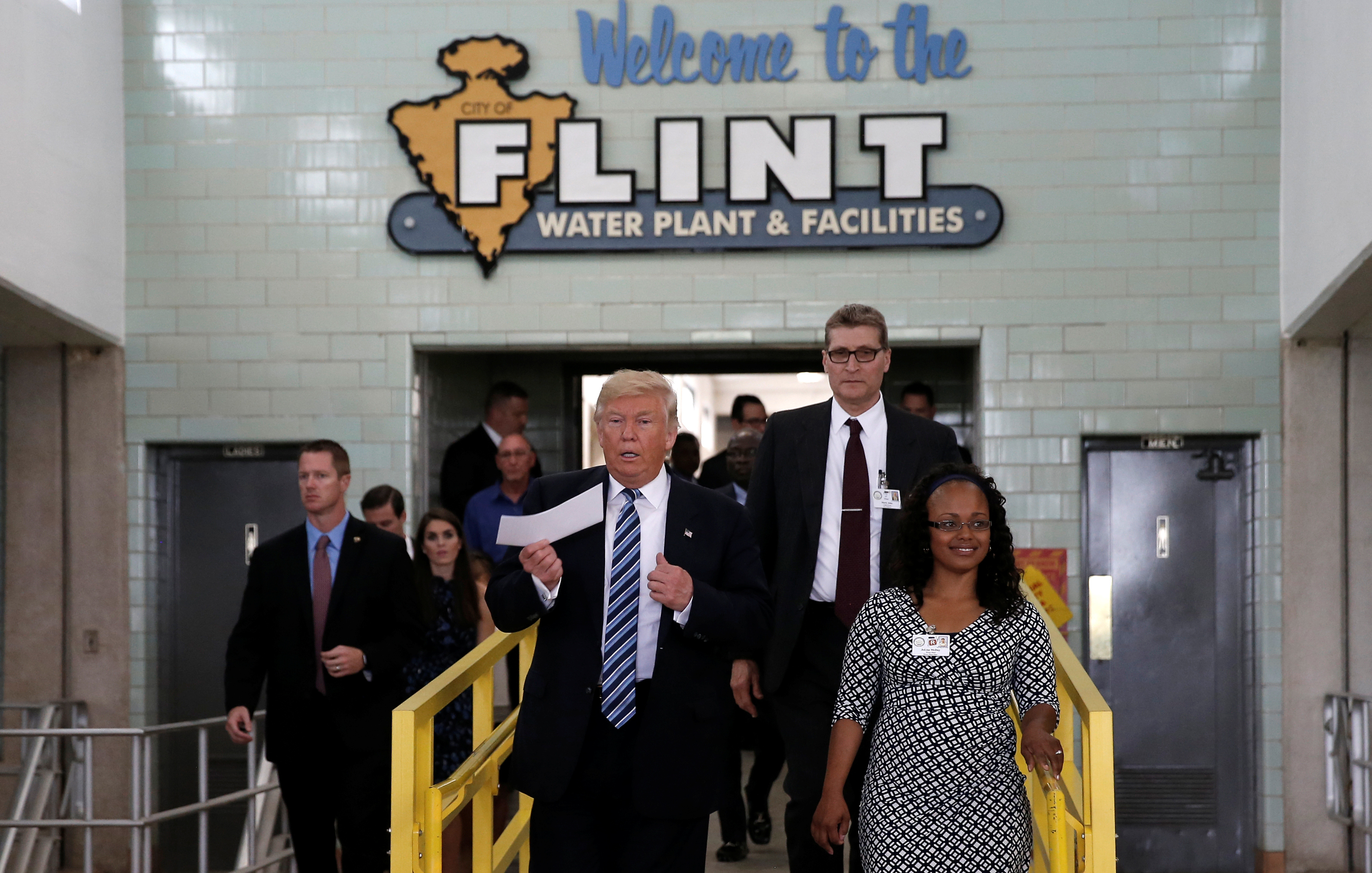 Republican presidential nominee Donald Trump tours the Flint Water Plant and Facilities with JoLisa McDay, Utilities Administrator for the City of Flint