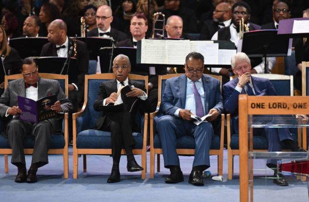 (L-R) Nation of Islam leader Louis Farrakhan, Rev. Al Sharpton, Rev. Jesse Jackson and former US President Bill Clinton attend Aretha Franklin's funeral at Greater Grace Temple on August 31, 2018 in Detroit, Michigan. (ANGELA WEISS/AFP/Getty Images)