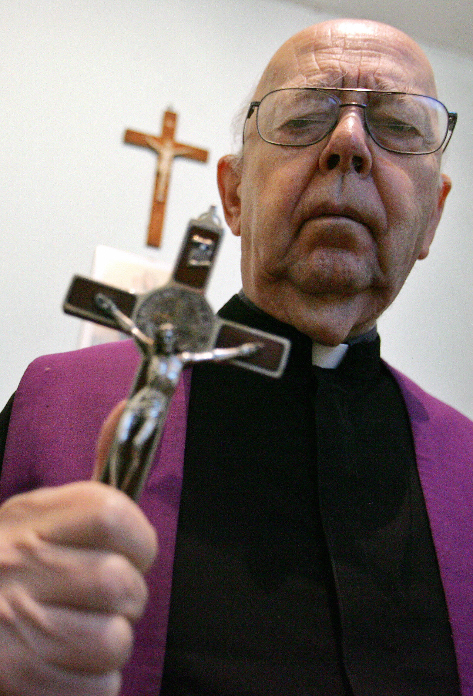 ROME, Vatican: Don Gabriele Amorth, an exorcist in the diocese of Rome and the president of honour of the Association of Exorcists poses, 10 October 2005 in Rome. For the second time a exorcism seminary will take place in Vatican city, 13 October 2005. (GIULIO NAPOLITANO/AFP/Getty Images)