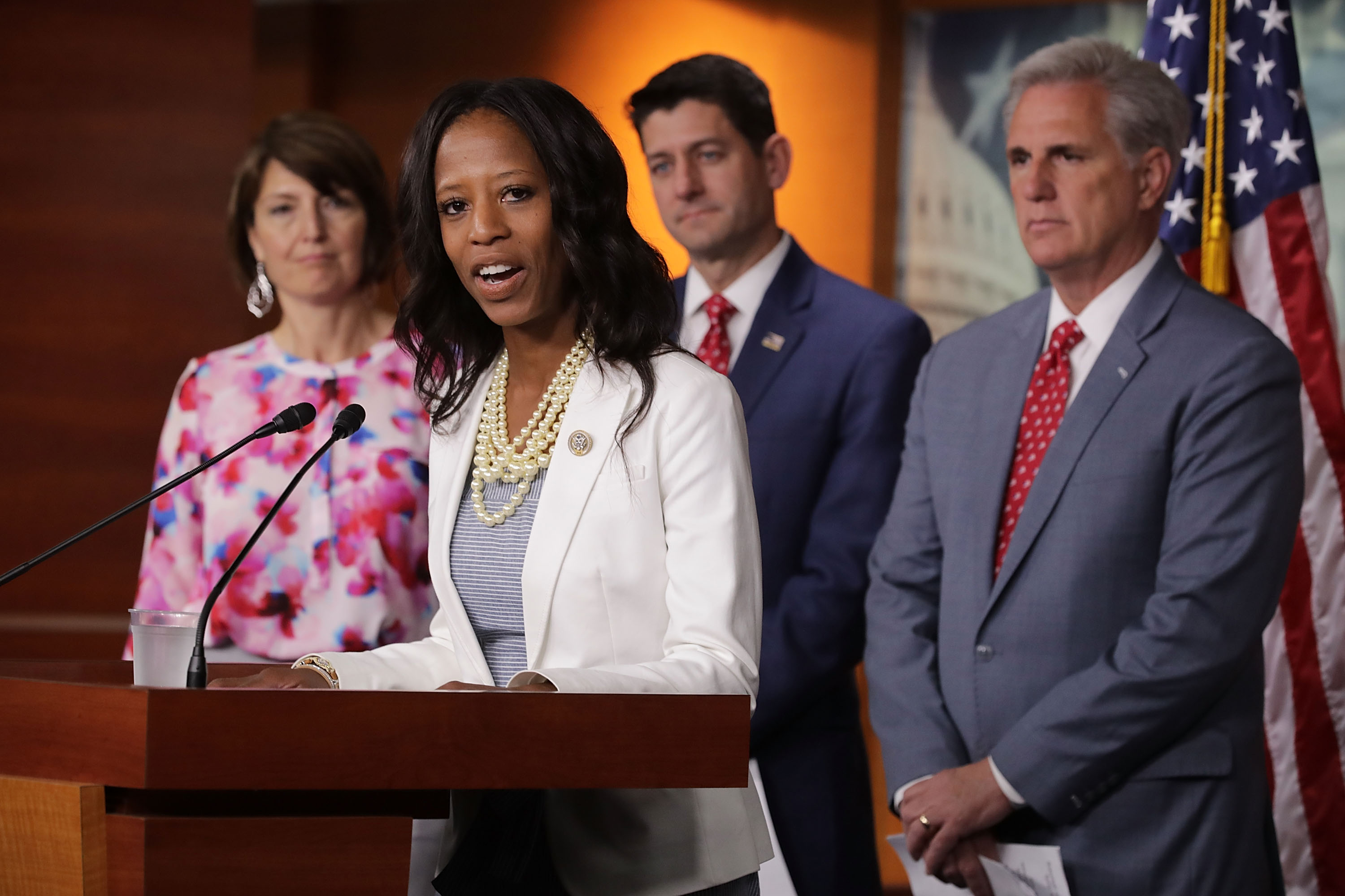 Rep. Mia Love (R-UT) speaks during a news conference with (L-R) Rep. Cathy McMorris Rodgers (R-WA), Speaker of the House Paul Ryan (R-WI) and Majority Leader Kevin McCarthy (R-CA) following their weekly caucus meeting at the U.S. Capitol Visitors Center July 17, 2018 in Washington, DC. Chip Somodevilla/Getty Images