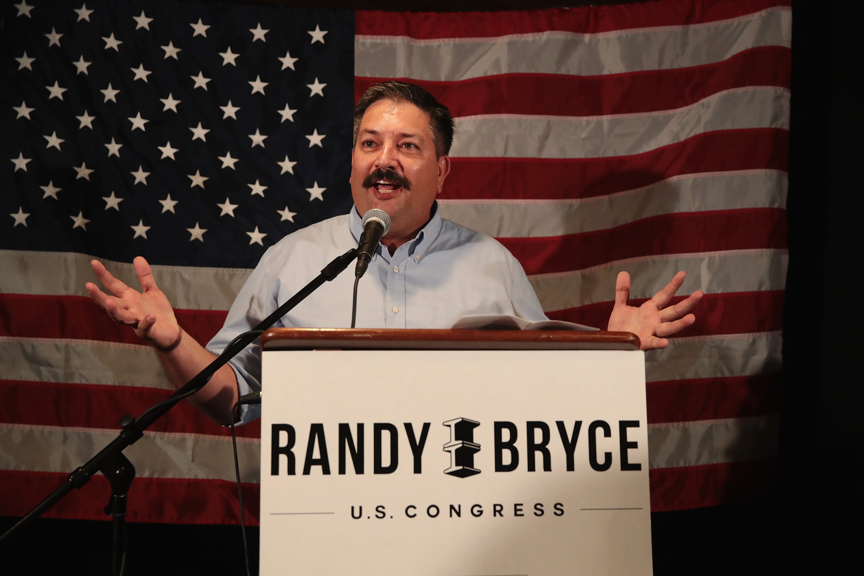 Democratic congressional candidate Randy Bryce speaks to supporters at an election-night rally after being declared the winner in the Wisconsin Democratic primary on August 14, 2018 in Racine, Wisconsin. Scott Olson/Getty Images