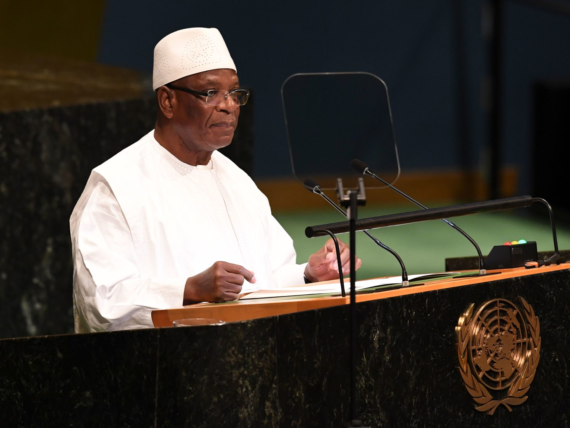 President of Mali, Ibrahim Boubacar Keita, addresses the Nelson Mandela Peace Summit September 24, 2018, one a day before the start of the General Debate of the 73rd session of the General Assembly at the United Nations in New York. (DON EMMERT/AFP/Getty Images)
