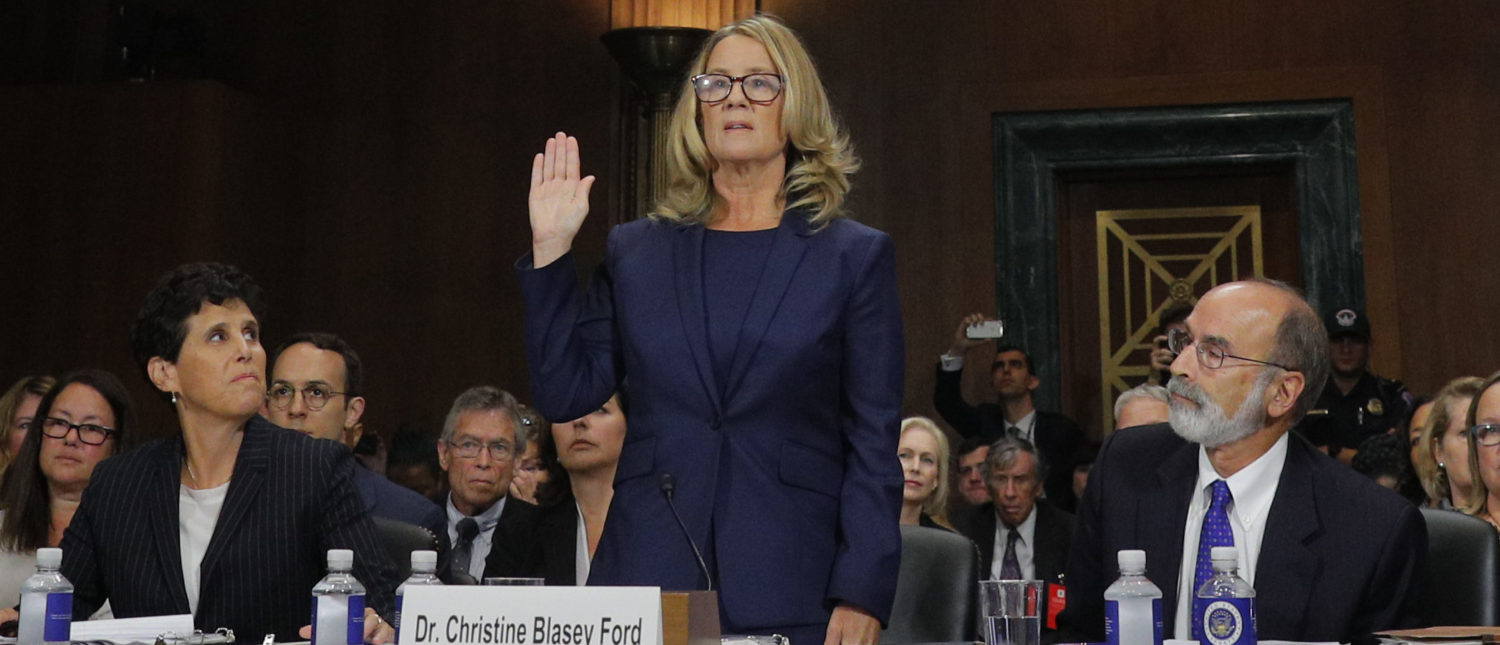 WASHINGTON, DC - SEPTEMBER 27: Professor Christine Blasey Ford, who accused U.S. Supreme Court nominee Brett Kavanaugh of a sexual assault in 1982, is sworn in to testify before a Senate Judiciary Committee confirmation hearing for Kavanaugh on Capitol Hill September 27, 2018 in Washington, DC. (Photo by Jim Bourg-Pool/Getty Images)