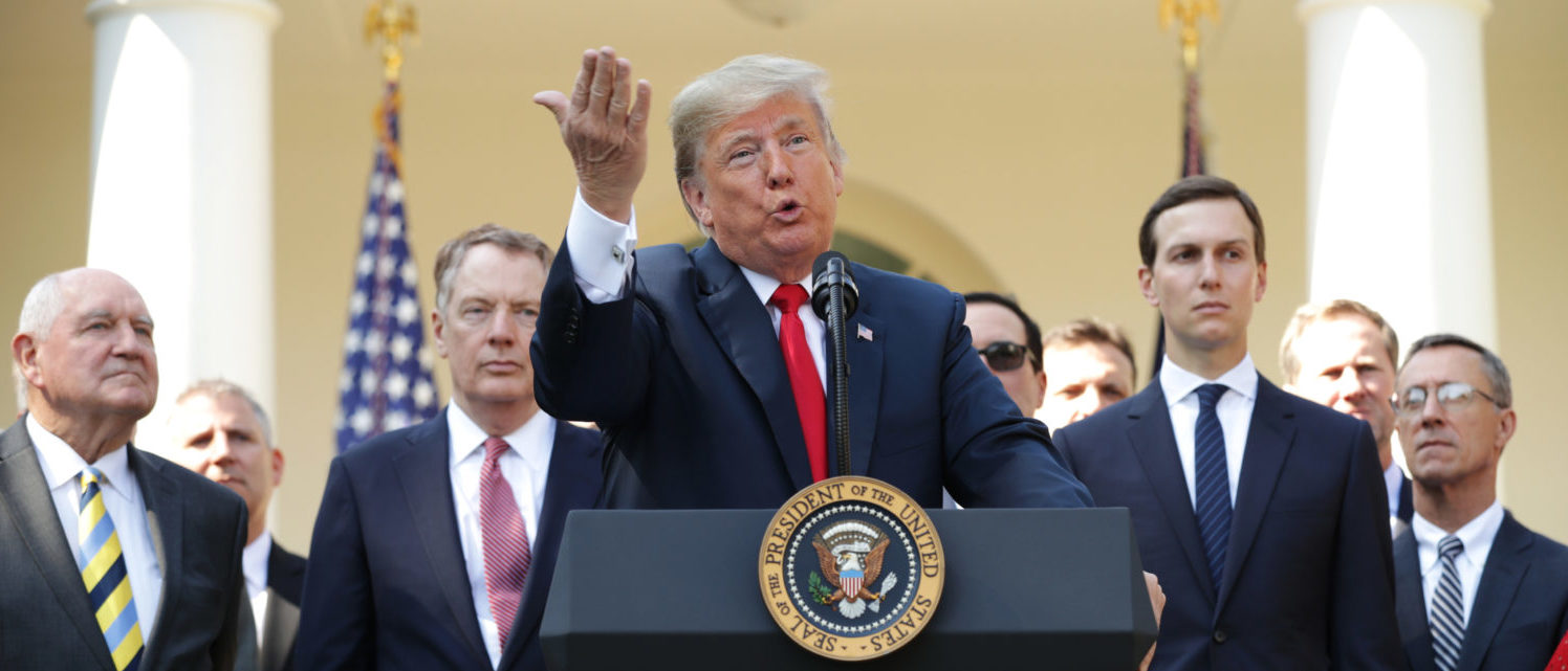 "WASHINGTON, DC - OCTOBER 01: U.S. President Donald Trump speaks during a press conference to discuss a revised U.S. trade agreement with Mexico and Canada in the Rose Garden of the White House on October 1, 2018 in Washington, DC. U.S. and Canadian officials announced late Sunday night that a new deal, named the ""U.S.-Mexico-Canada Agreement,"" or USMCA, had been reached to replace the 24-year-old North American Free Trade Agreement. (Photo by Chip Somodevilla/Getty Images)"
