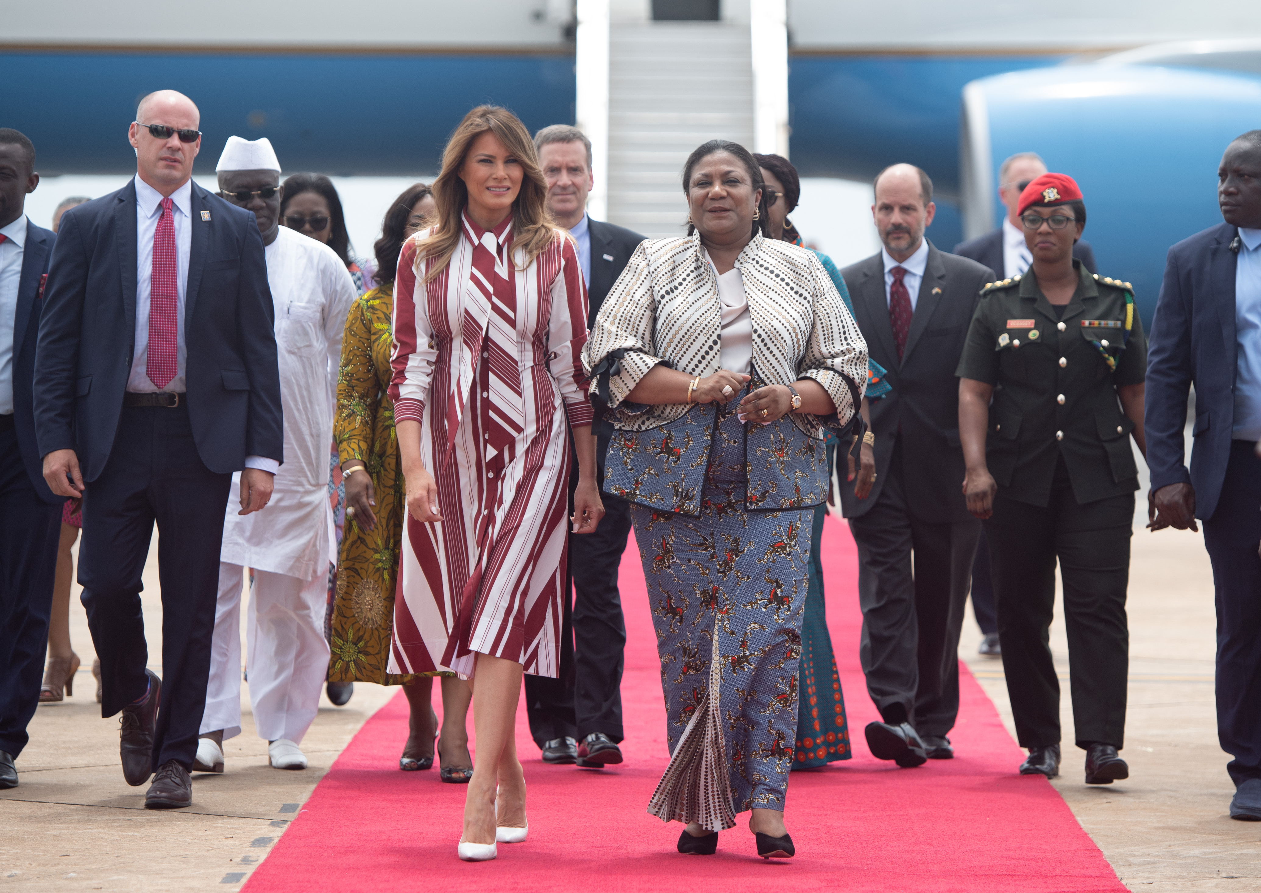 First lady Melania Trump walks alongside Rebecca Akufo-Addo, the First Lady of Ghana, during an arrival ceremony after landing at Kotoka International Airport in Accra October 2, 2018 as she begins her week long trip to Africa to promote her 'Be Best' campaign. (Photo: SAUL LOEB/AFP/Getty Images)