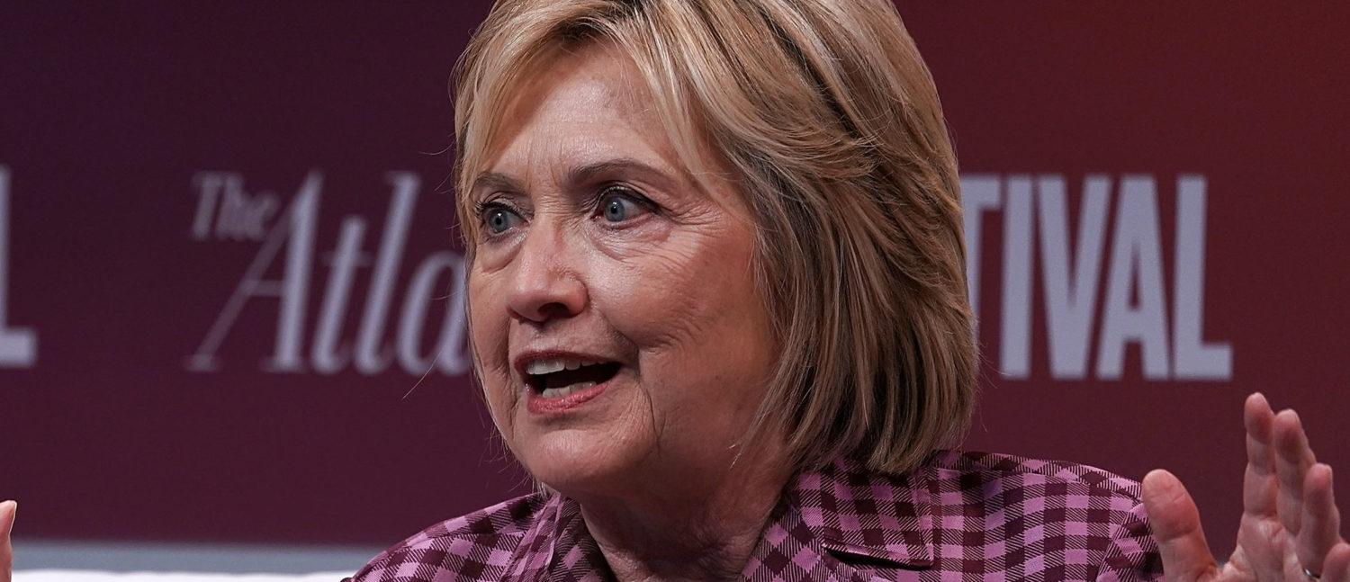 """Former U.S. Secretary of State Hillary Clinton participates in a discussion during the 2018 Atlantic Festival Oct. 2, 2018 in Washington, DC. The Atlantic held its annual festival on """"the most consequential topics facing us today."""" (Photo by Alex Wong/Getty Images)"""