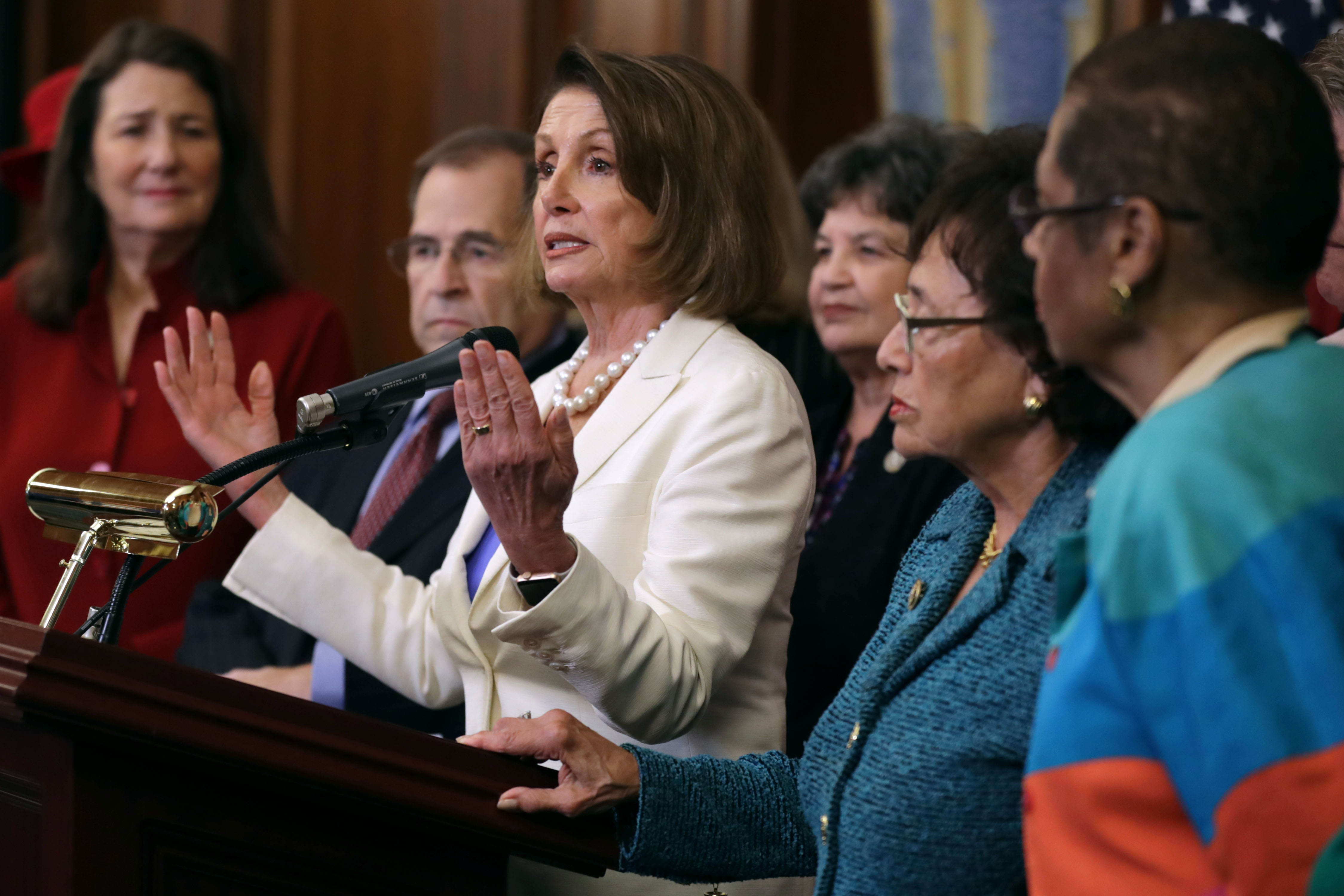 House Minority Leader Nancy Pelosi (D-CA) (C) is joined by Democratic members of the House of Representatives to rally support for Dr. Christine Blasey Ford in the Rayburn Room in the U.S. Capitol September 26, 2018 in Washington, DC. Chip Somodevilla/Getty Images