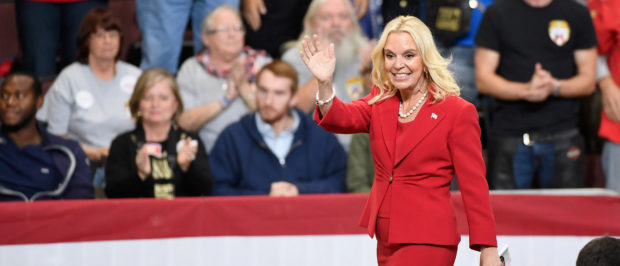 MINNEAPOLIS, MN - OCTOBER 04: Karin Housley, Republican candidate for US Senate, walks to the stage at a campaign rally held by US President Donald Trump on October 4, 2018 at Mayo Civic Center in Rochester, Minnesota. Trump is holding rallies across the U.S. ahead of the midterm elections November 6. (Photo by Hannah Foslien/Getty Images)