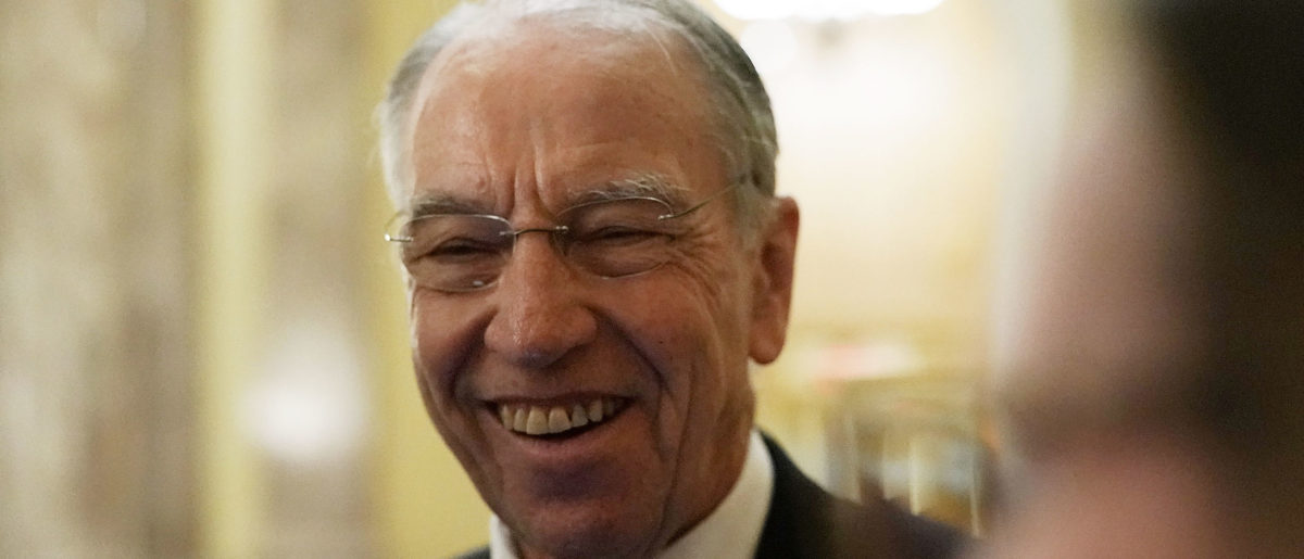 U.S. Sen. Chuck Grassley (R-IA) speaks to reporters after a cloture vote for the nomination of Supreme Court Judge Brett Kavanaugh to the U.S. Supreme Court, at the U.S. Capitol, October 5, 2018 in Washington, DC. Photo by Alex Wong/Getty Images