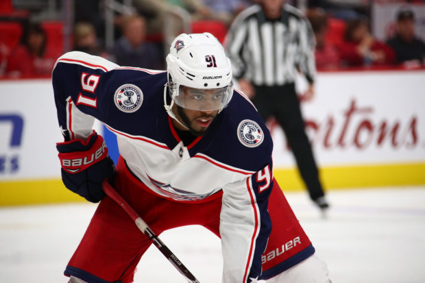 DETROIT, MI - OCTOBER 04: Anthony Duclair #91 of the Columbus Blue Jackets looks on while playing the Detroit Red Wings at Little Caesars Arena on October 4, 2018 in Detroit, Michigan. (Photo by Gregory Shamus/Getty Images)