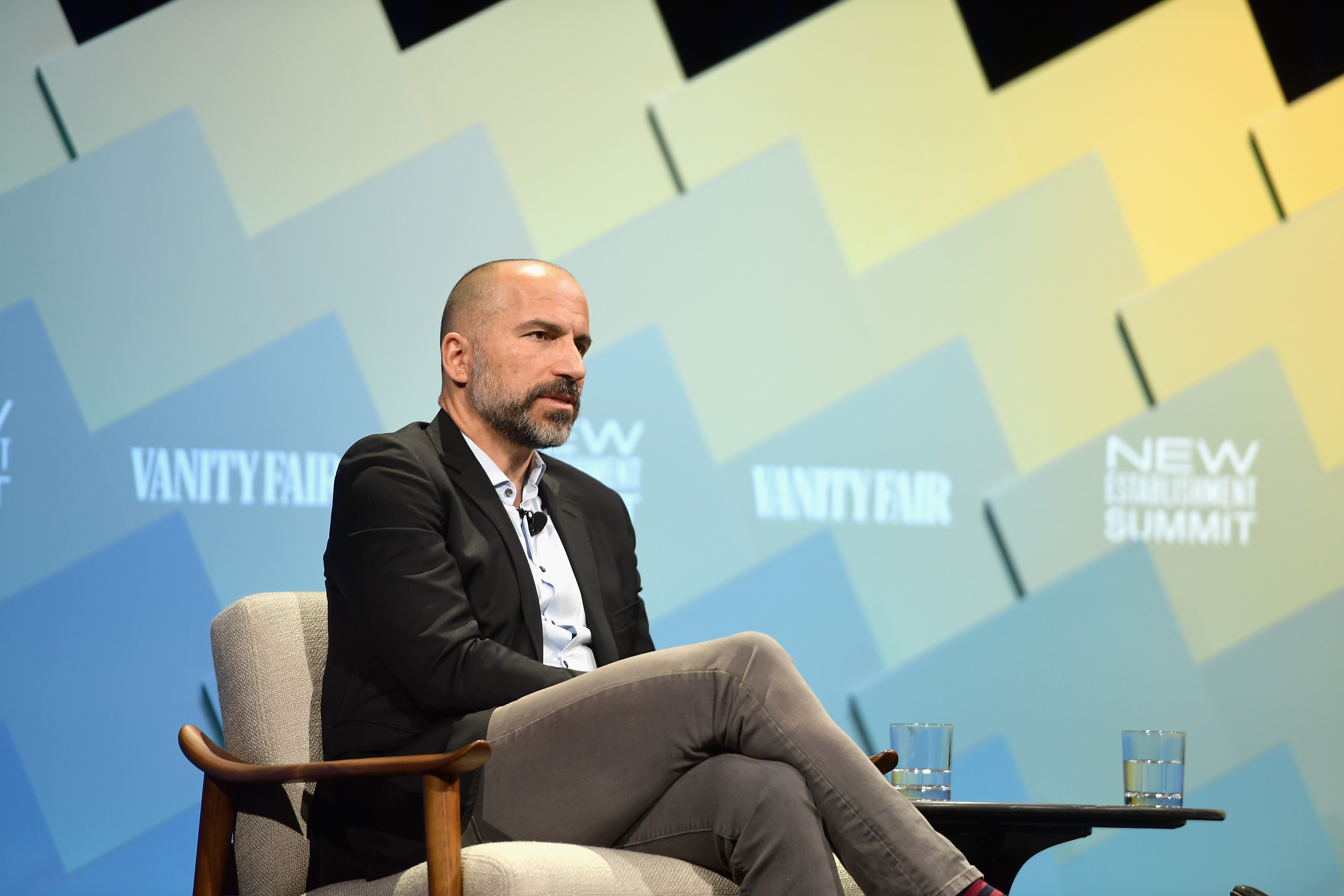 C.E.O of Uber, Dara Khosrowshahi speaks onstage at Day 1 of the Vanity Fair New Establishment Summit 2018 at The Wallis Annenberg Center for the Performing Arts on October 9, 2018 in Beverly Hills, California. Matt Winkelmeyer/Getty Images