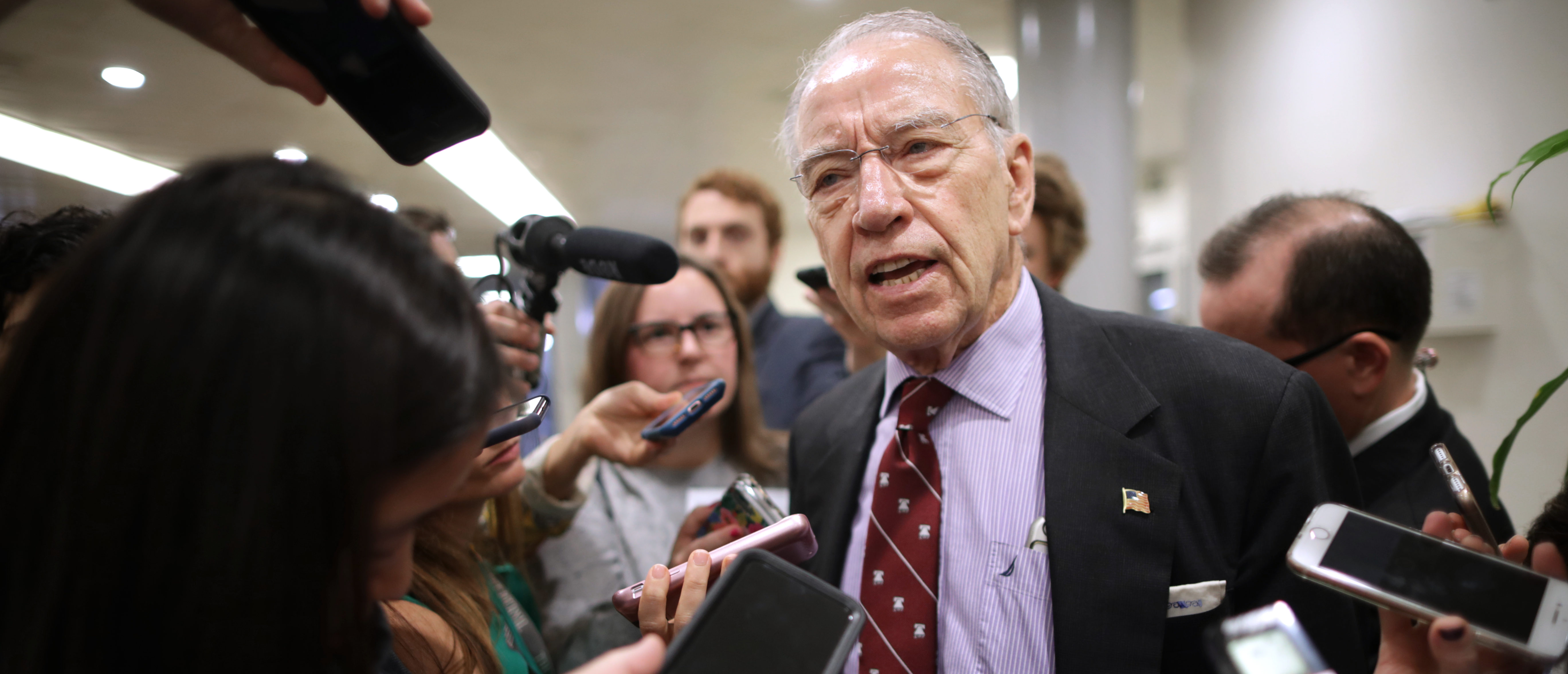 Senate Judiciary Committee Chairman Chuck Grassley (R-IA) talks with reporters as he heads for a meeting at the U.S. Capitol October 02, 2018 in Washington, D.C. (Photo by Chip Somodevilla/Getty Images)