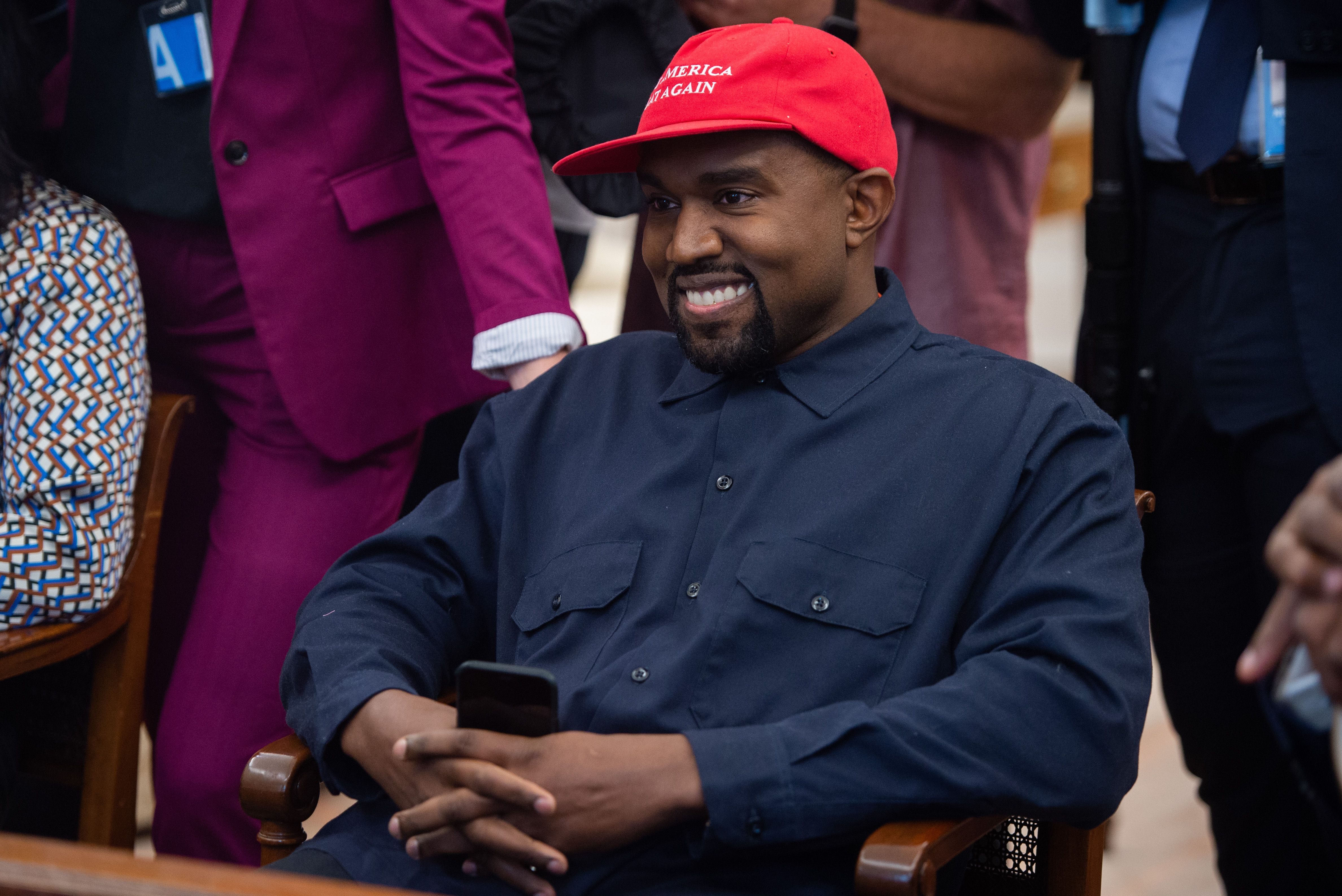 Rapper Kanye West speaks during his meeting with US President Donald Trump in the Oval Office of the White House in Washington, DC, on October 11, 2018. (SAUL LOEB/AFP/Getty Images)