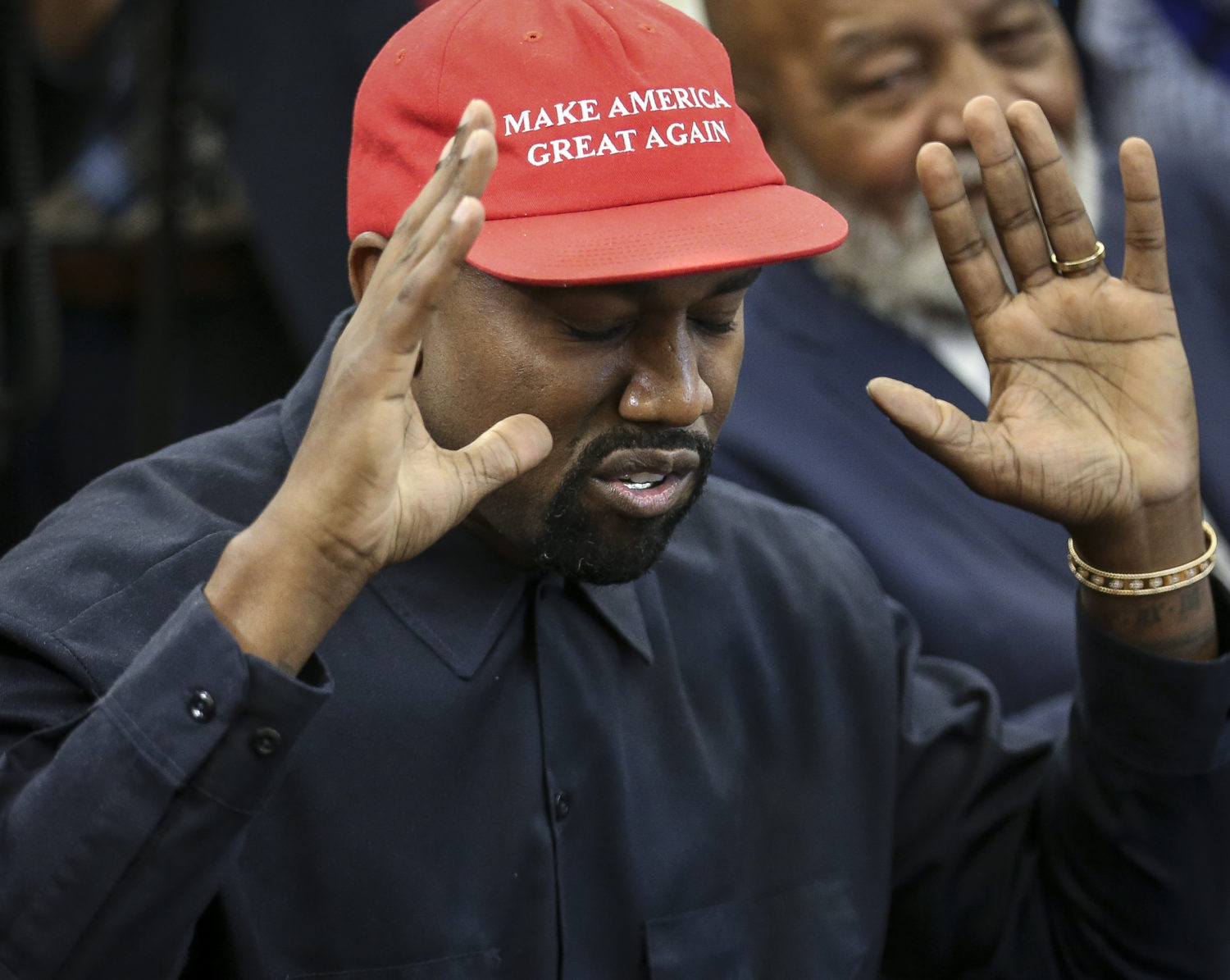 WASHINGTON, DC - OCTOBER 11: Rapper Kanye West speaks during a meeting with U.S. President Donald Trump in the Oval office of the White House on October 11, 2018 in Washington, DC. (Photo by Oliver Contreras - Pool/Getty Images)
