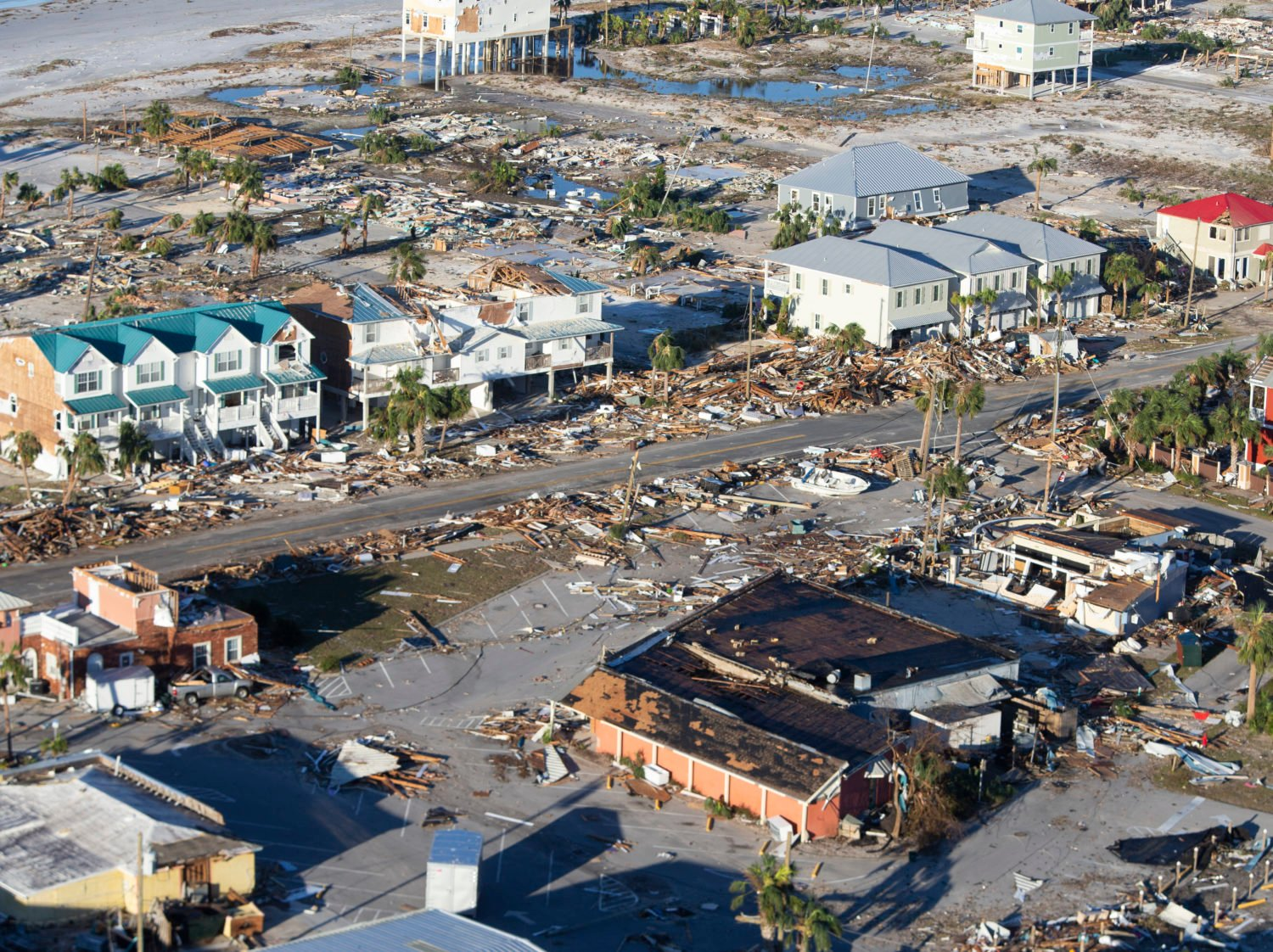MEXICO BEACH, FL - OCTOBER 12: Homes and businesses along US 98 are left in devastation by Hurricane Michael. (Photo by Mark Wallheiser/Getty Images)