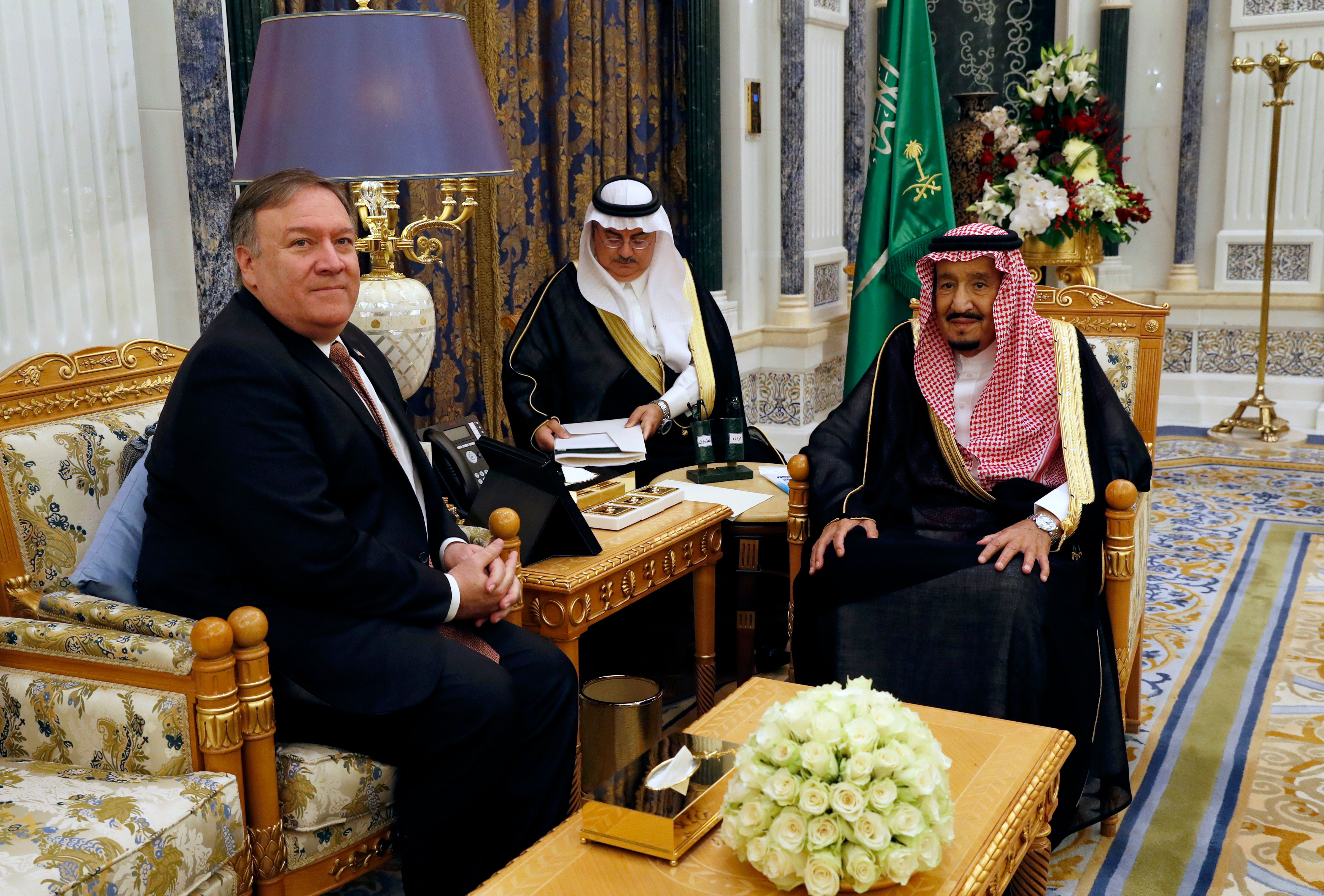 Saudi Arabia's King Salman (R) meets with US Secretary of State Mike Pompeo in Riyadh on October 16, 2018. - Pompeo arrived in the Saudi capital for talks with King Salman on what happened to missing journalist Jamal Khashoggi. (Photo by LEAH MILLIS / POOL / AFP) (Photo credit should read LEAH MILLIS/AFP/Getty Images)