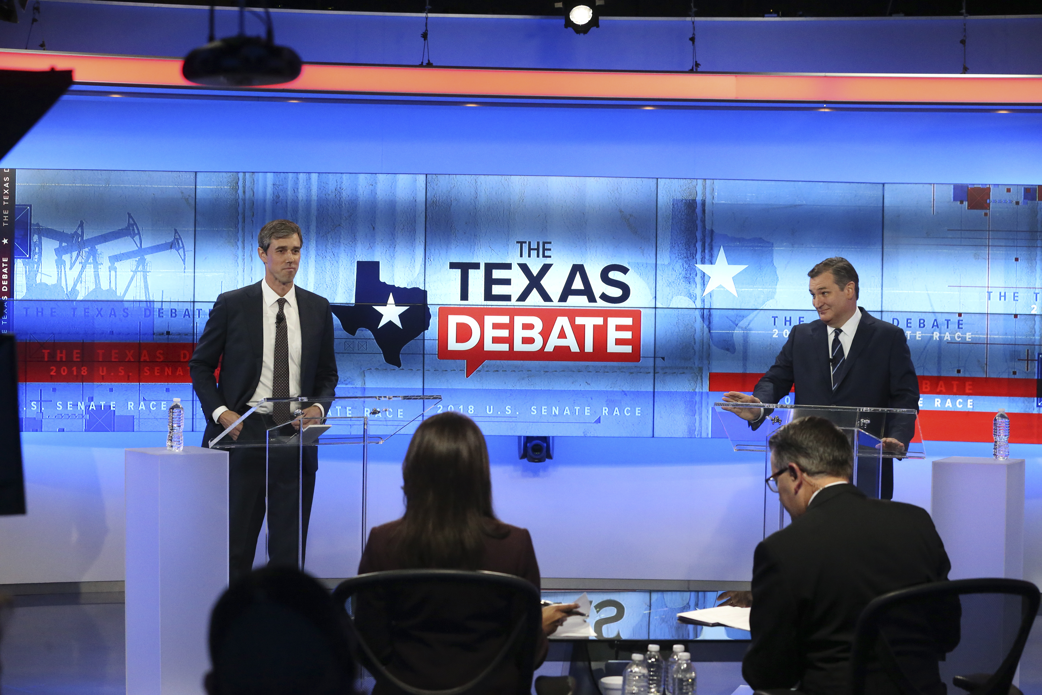 U.S. Rep. Beto O'Rourke (D-TX) and U.S. Sen. Ted Cruz (R-TX) face off in a debate at the KENS 5 studios on October 16, 2018 in San Antonio, Texas. A recent poll show Cruz leading O'Rourke 52-45 percent among likely voters. Tom Reel-Pool/Getty Images