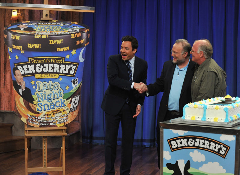 "NEW YORK, NY - MARCH 02: Jimmy Fallon receives his own Ben and Jerry's ice cream flavor from Ben Cohen and Jerry Greenfield on ""Late Night with Jimmy Fallon"" at Rockefeller Center on March 2, 2011 in New York City. (Photo by Theo Wargo/Getty Images)"