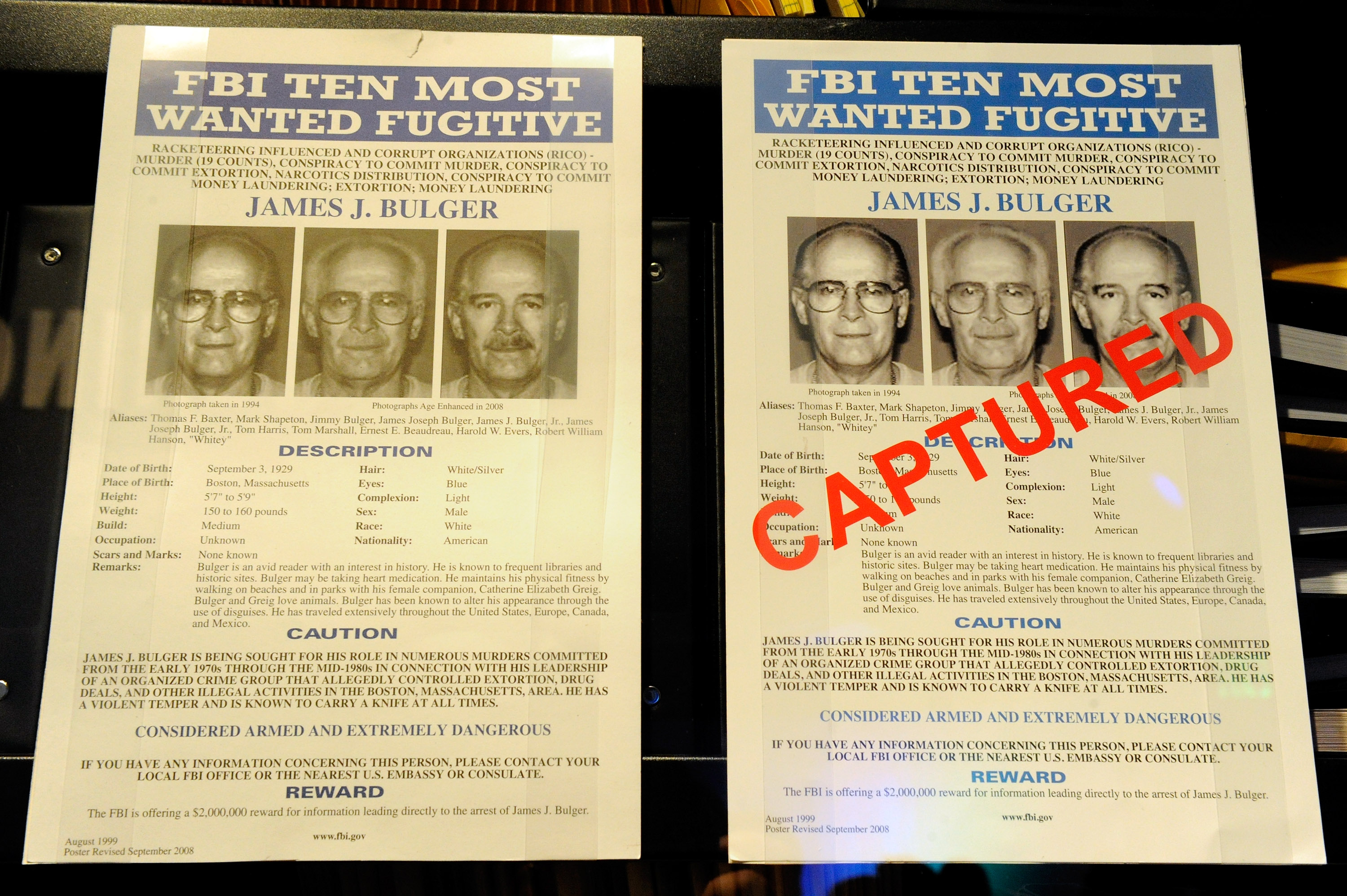 FBI Wanted posters for James Bulger are displayed at The Mob Museum February 13, 2012 in Las Vegas, Nevada. Ethan Miller/Getty Images