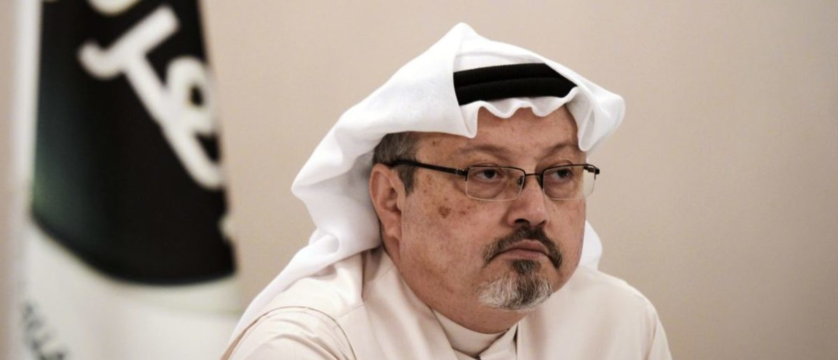 """A general manager of Alarab TV, Jamal Khashoggi, looks on during a press conference in the Bahraini capital Manama, on December 15, 2014. The pan-Arab satellite news broadcaster owned by billionaire Saudi businessman Alwaleed bin Talal will go on air February 1, promising to """"break the mould"""" in a crowded field. (Photo: MOHAMMED AL-SHAIKH/AFP/Getty Images)"""
