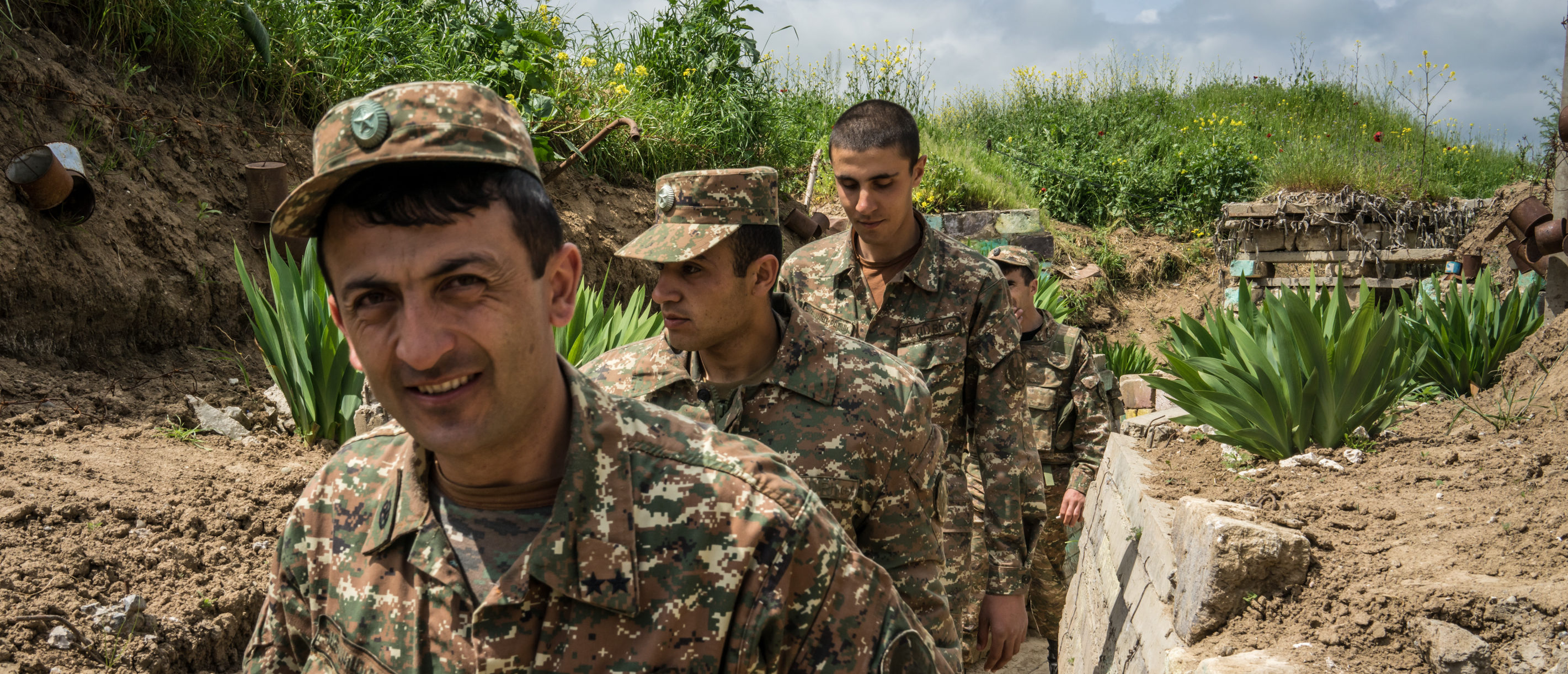 AGDAM, NAGORNO-KARABAKH - APRIL 21: Members of the armed forces of Nagorno-Karabakh at their post along the line of contact with Azerbaijani forces in the eastern direction on April 21, 2015 near the town of Agdam, Nagorno-Karabakh. Since signing a ceasefire in a war with Azerbaijan in 1994, Nagorno-Karabakh, officially part of Azerbaijan, has functioned as a self-declared independent republic and de facto part of Armenia, with hostilities along the line of contact between Nagorno-Karabakh and Azerbaijan occasionally flaring up and causing casualties. (Photo by Brendan Hoffman/Getty Images)