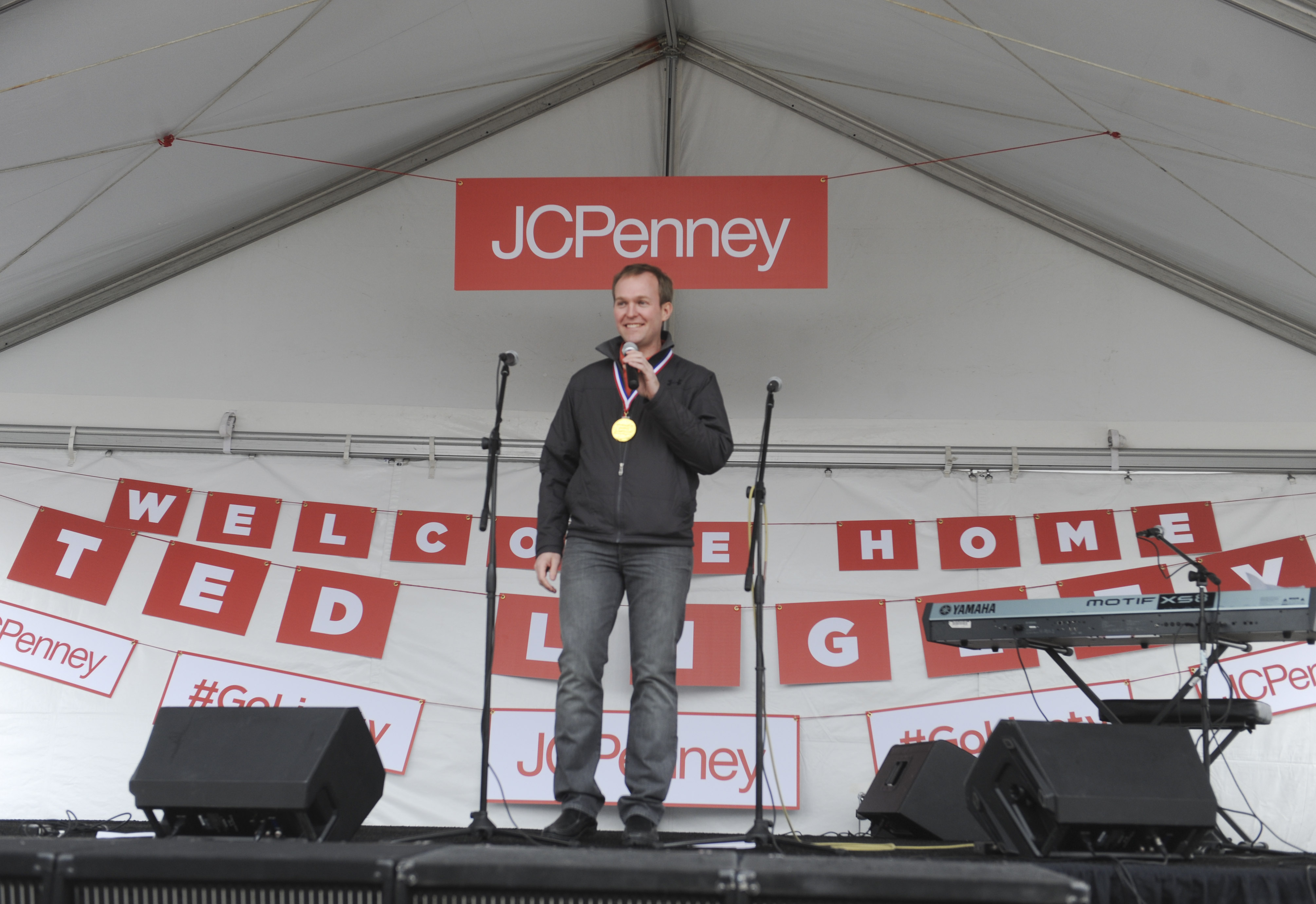 "Salt Lake County Mayor Ben McAdams introduces Ted Ligety at the JCPenney ""Welcome Home"" Event for Olympic Gold Medalist Ted Ligety at Valley Fair Mall on March 29, 2014 in West Valley City, Utah. Fred Hayes/Getty Images for JCPenney"