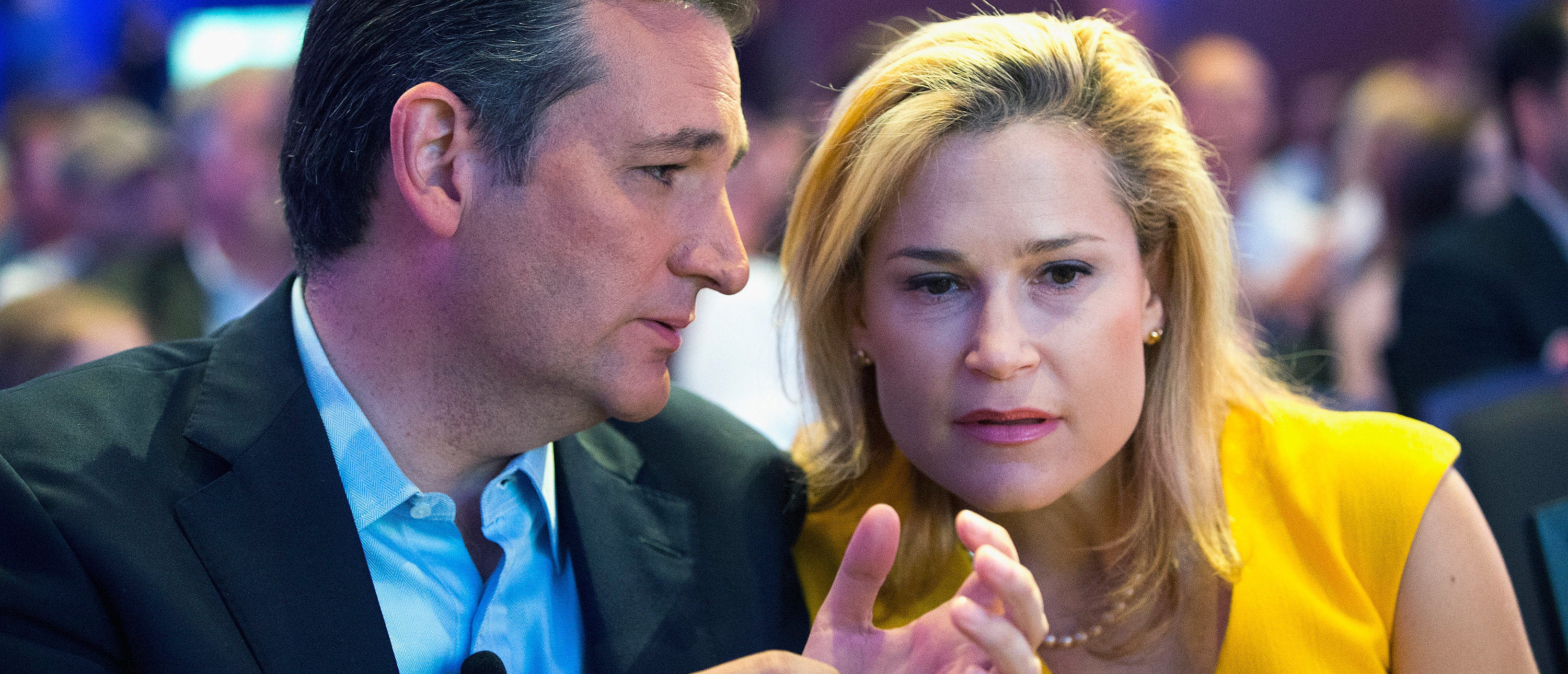 DES MOINES, IA - AUGUST 21: Republican presidential candidate Sen. Ted Cruz (R-TX) sits with his wife Heidi Nelson Cruz at the Religious Liberty Rally he was hosting on August 21, 2015 in Des Moines, Iowa. Earlier in the day Republican presidential candidate Sen. Ted Cruz (R-TX) visited and spoke to guests at the Iowa State Fair. (Photo by Scott Olson/Getty Images)