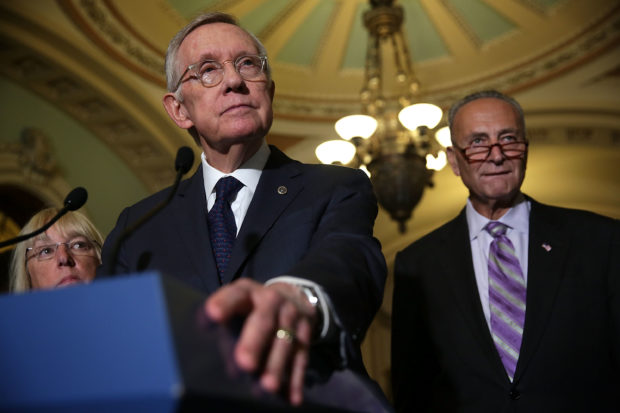 WASHINGTON, DC - SEPTEMBER 09: U.S. Senate Minority Leader Sen. Harry Reid (D-NV) (2nd L) speaks to members of the media as Sen. Patty Murray (D-WA) (L) and Sen. Charles Schumer (D-NY) (R) listen after the weekly Democratic Policy Luncheon at the Capitol September 9, 2015 in Washington, DC. Senate Democrats held the weekly luncheon to discuss Democratic agenda. (Photo by Alex Wong/Getty Images)